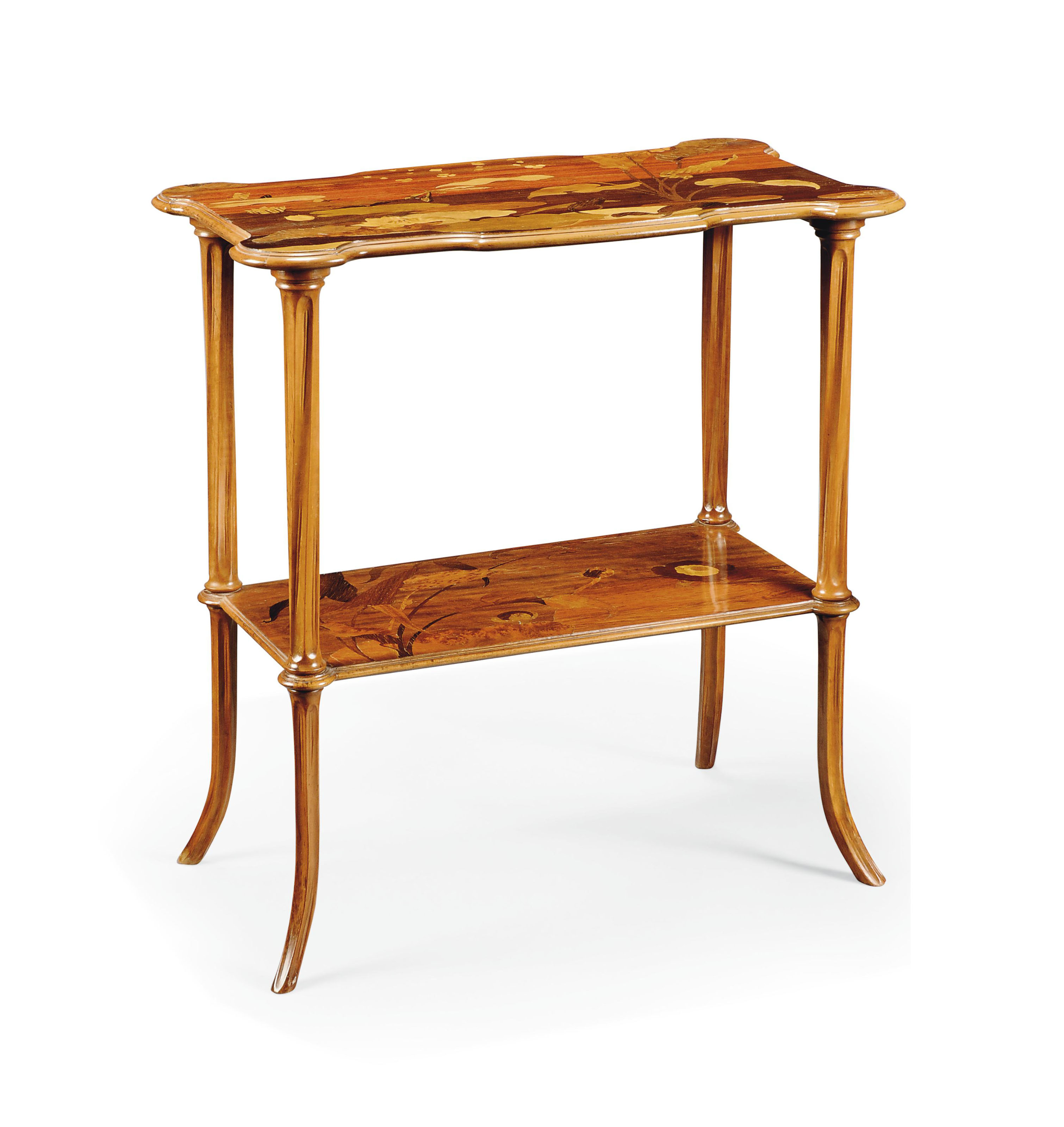 A GALLÉ MARQUETRY TWO-TIER OCCASIONAL TABLE
