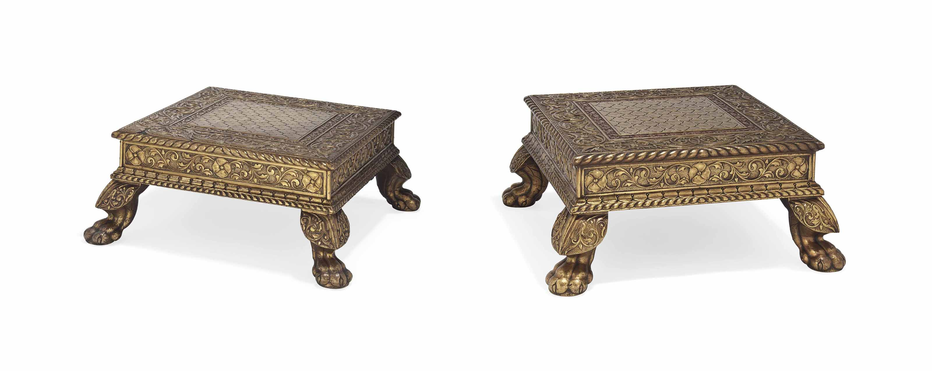 A NEAR PAIR OF FOOT STOOLS