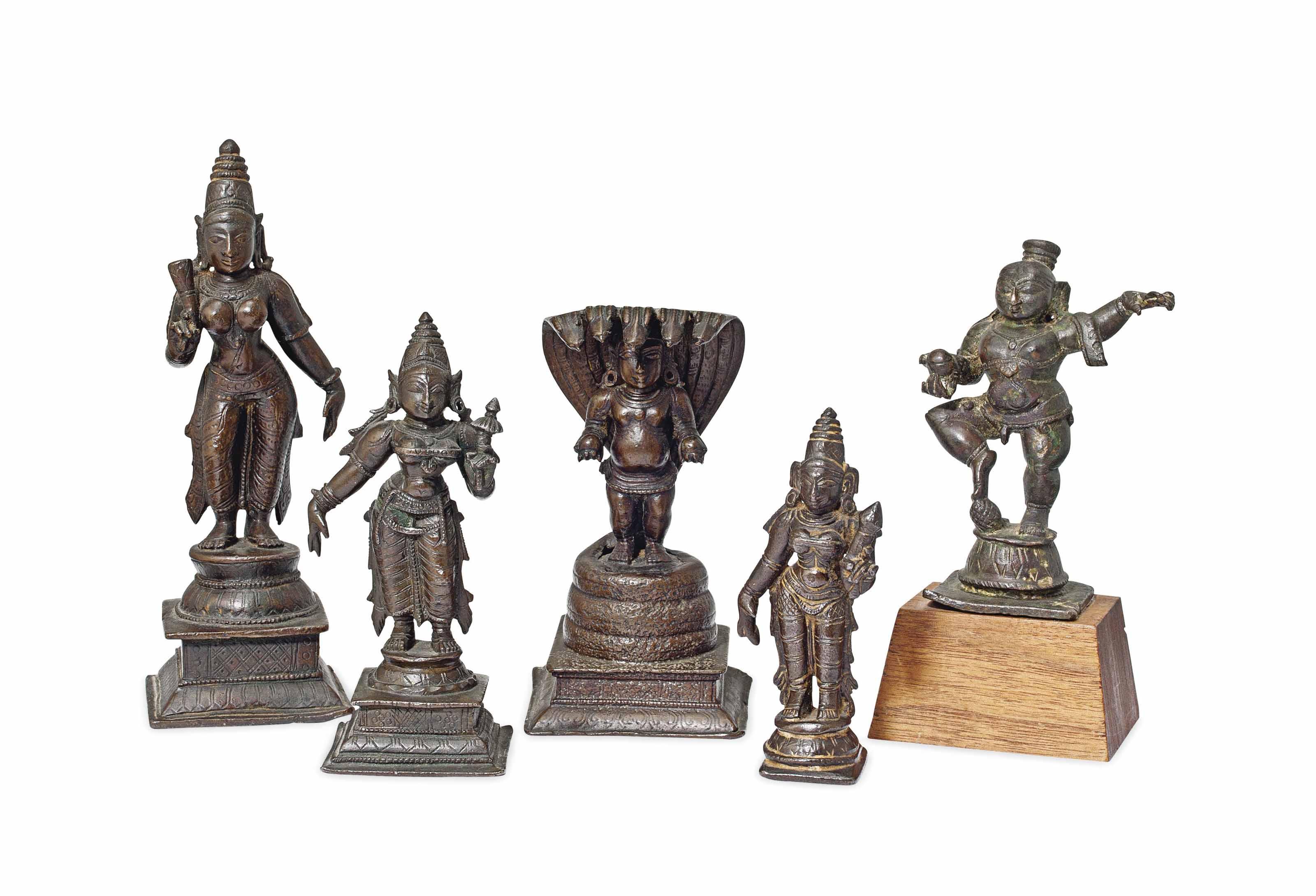 FIVE BRONZE FIGURES OF HINDU D