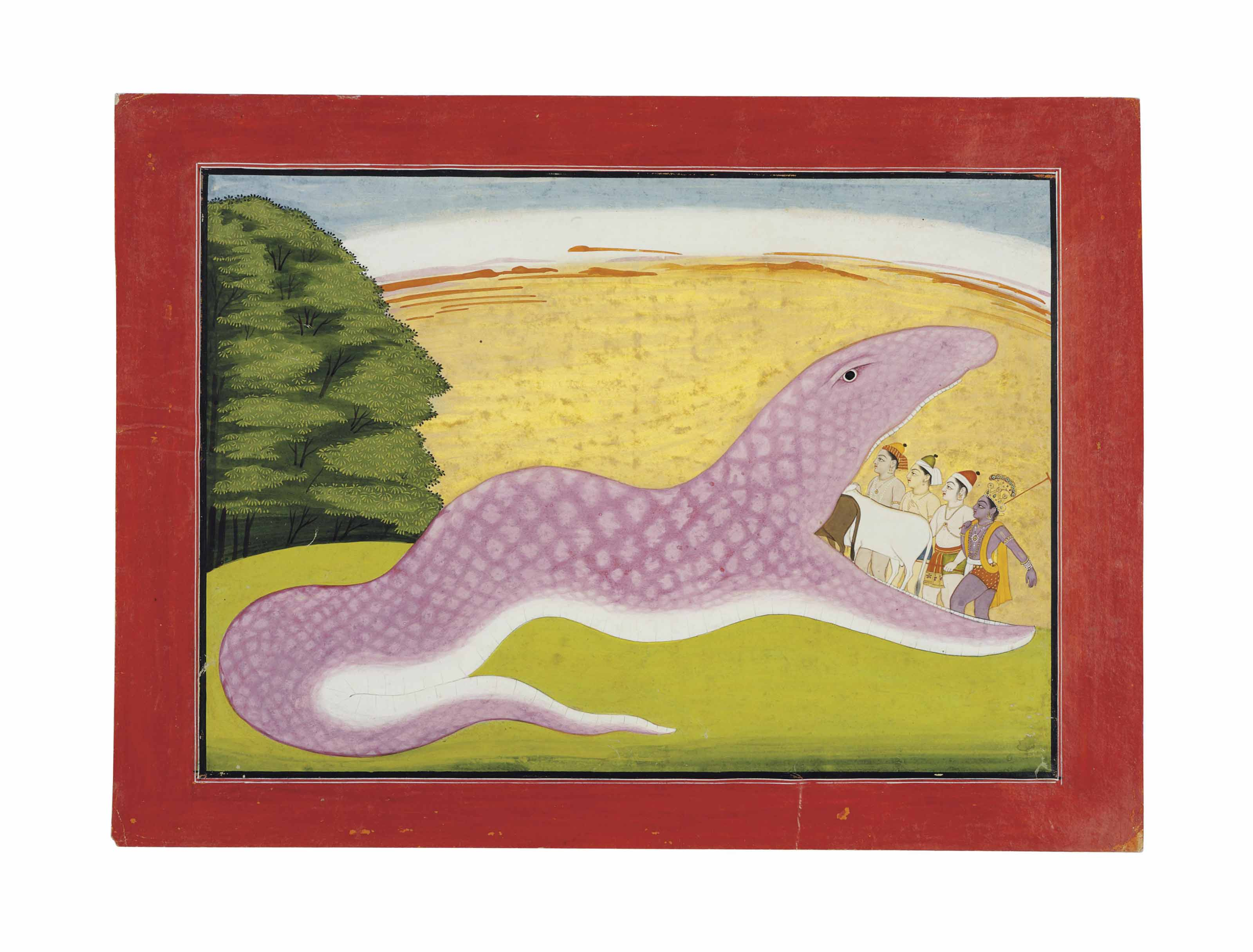 AN ILLUSTRATION TO THE BHAGAVATA PURANA: THE SNAKE DEMON UGRASURA SWALLOWING KRISHNA, THE GOPAS AND THEIR HERD