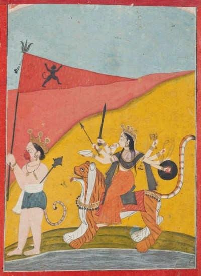 DURGA PRECEEDED BY HANUMAN