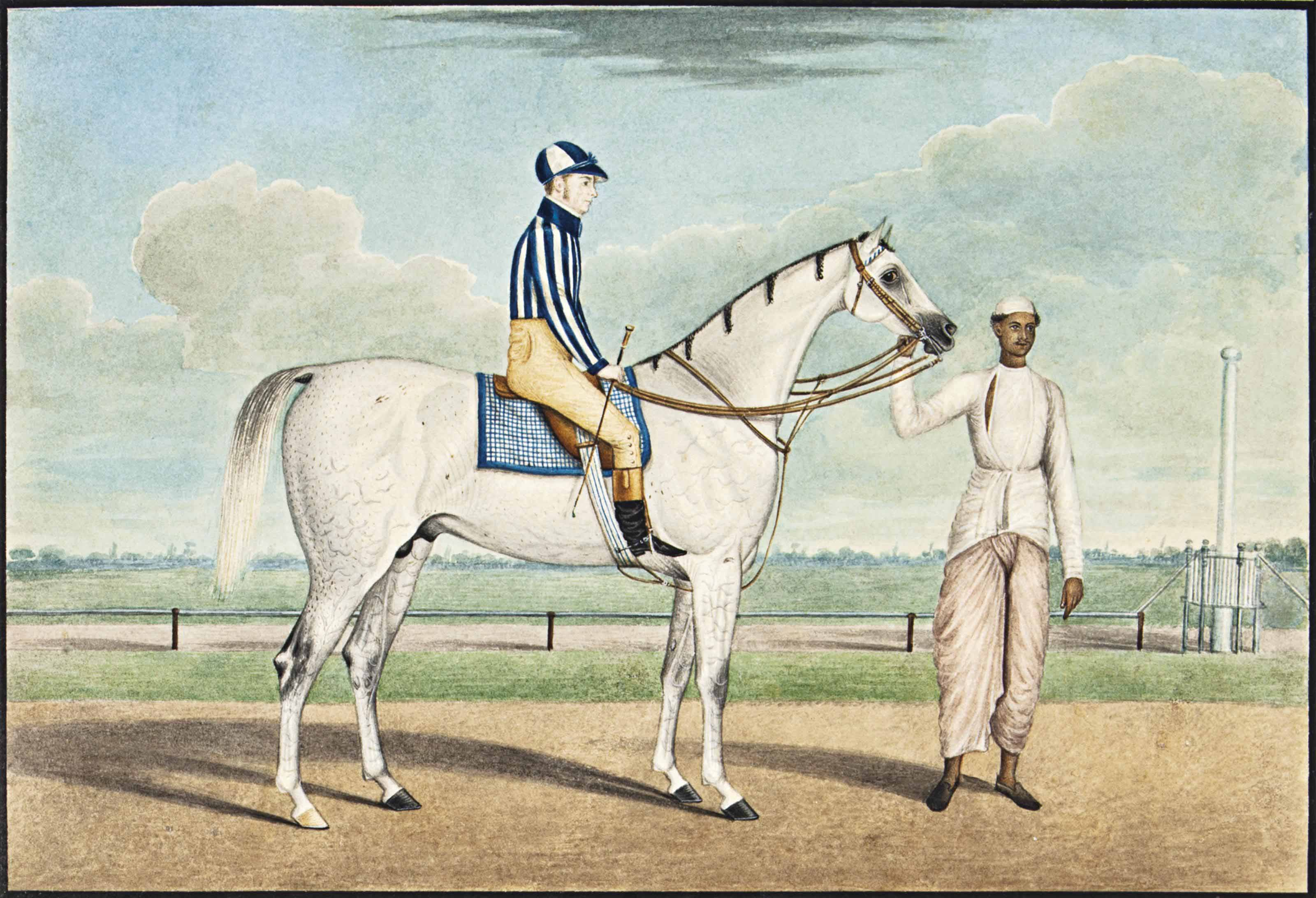 A WHITE RACEHORSE, JOCKEY AND