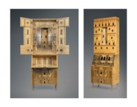 'ARCHITETTURA', A WOOD AND METAL TRUMEAU WITH LITHOGRAPHIC AND TRANSFER PRINTED DECORATION, DESIGNED BY PIERO FORNASETTI (1913-1988) & GIO PONTI (1891-1979)