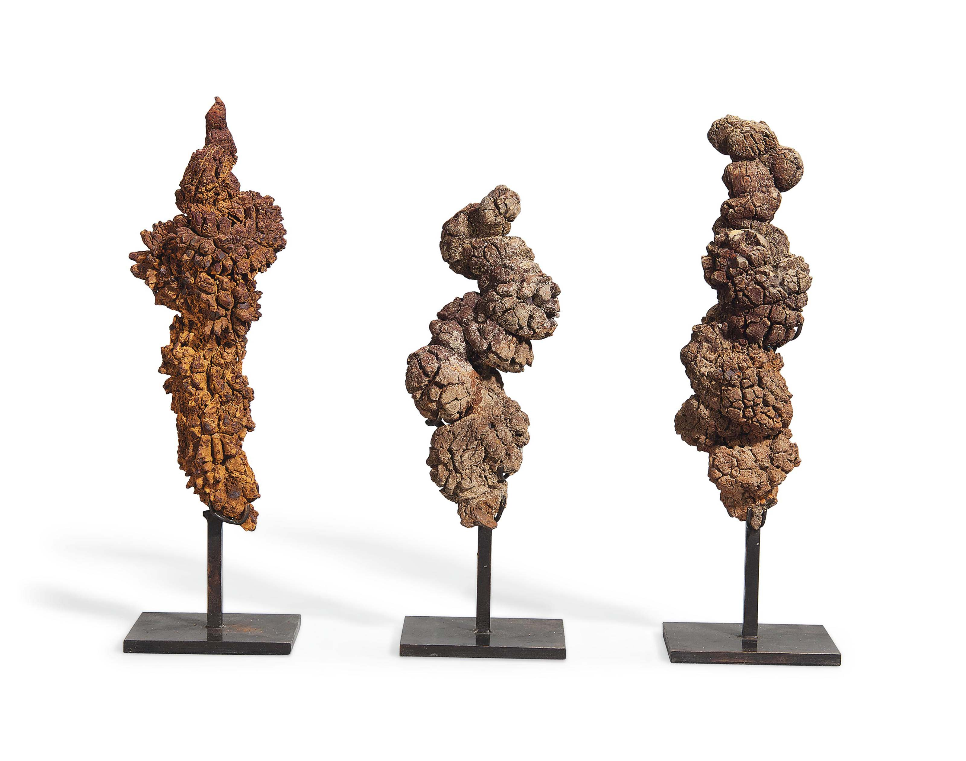Three specimens of coprolite (probably from a turtle). 9 in (23 cm) the highest (3). Sold for £2,000 on 5 September 2013 at Christie's in London