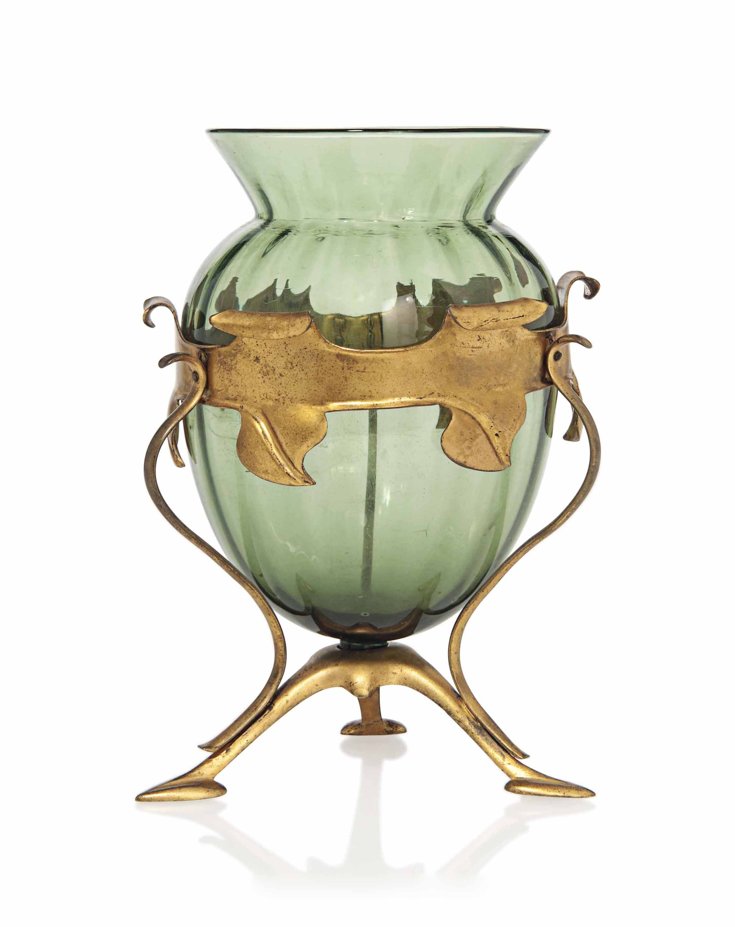 A W.A.S. BENSON (1854-1924) AND JAMES POWELL & SONS BRASS AND GLASS VASE