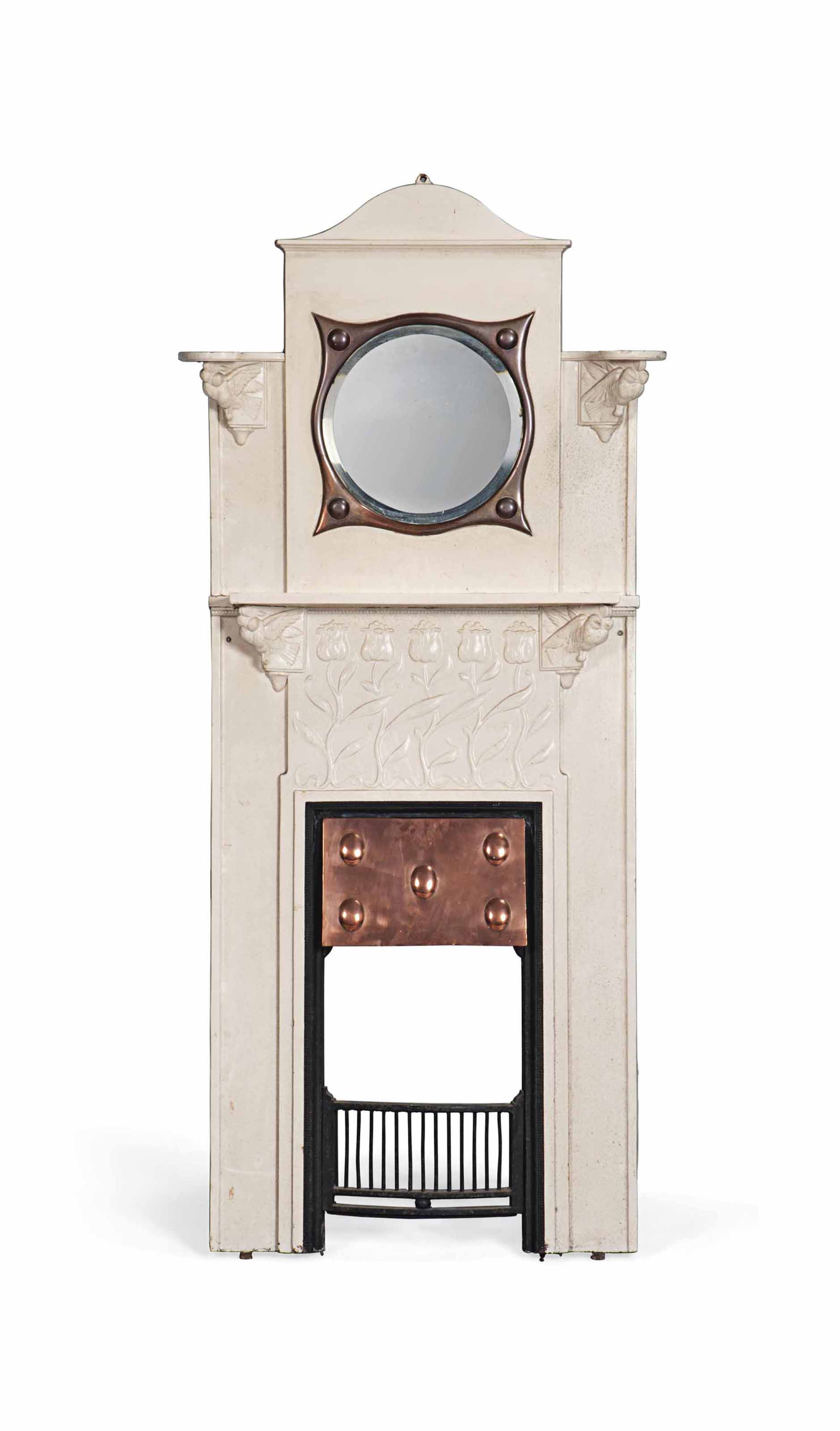 A PAINTED CAST-IRON FIRE-SURROUND WITH MIRRORED OVERMANTEL, ATTRIBUTED TO C.R. ASHBEE (1863-1942)