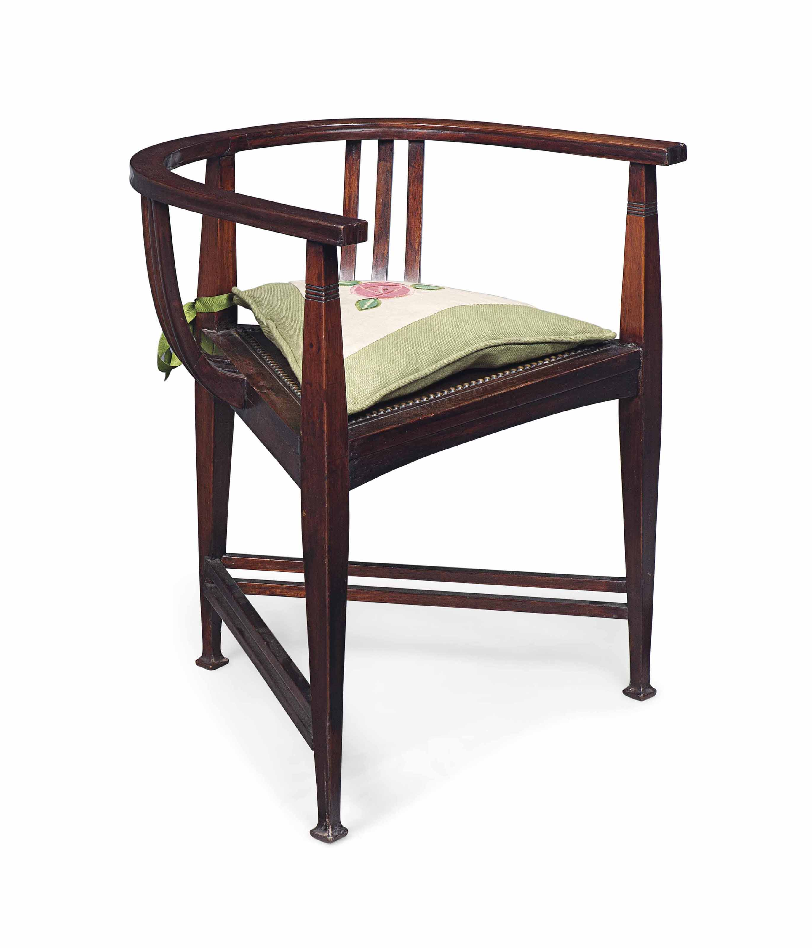 A WYLIE & LOCHHEAD (EST.1829) MAHOGANY AND BEECH ELBOW CHAIR