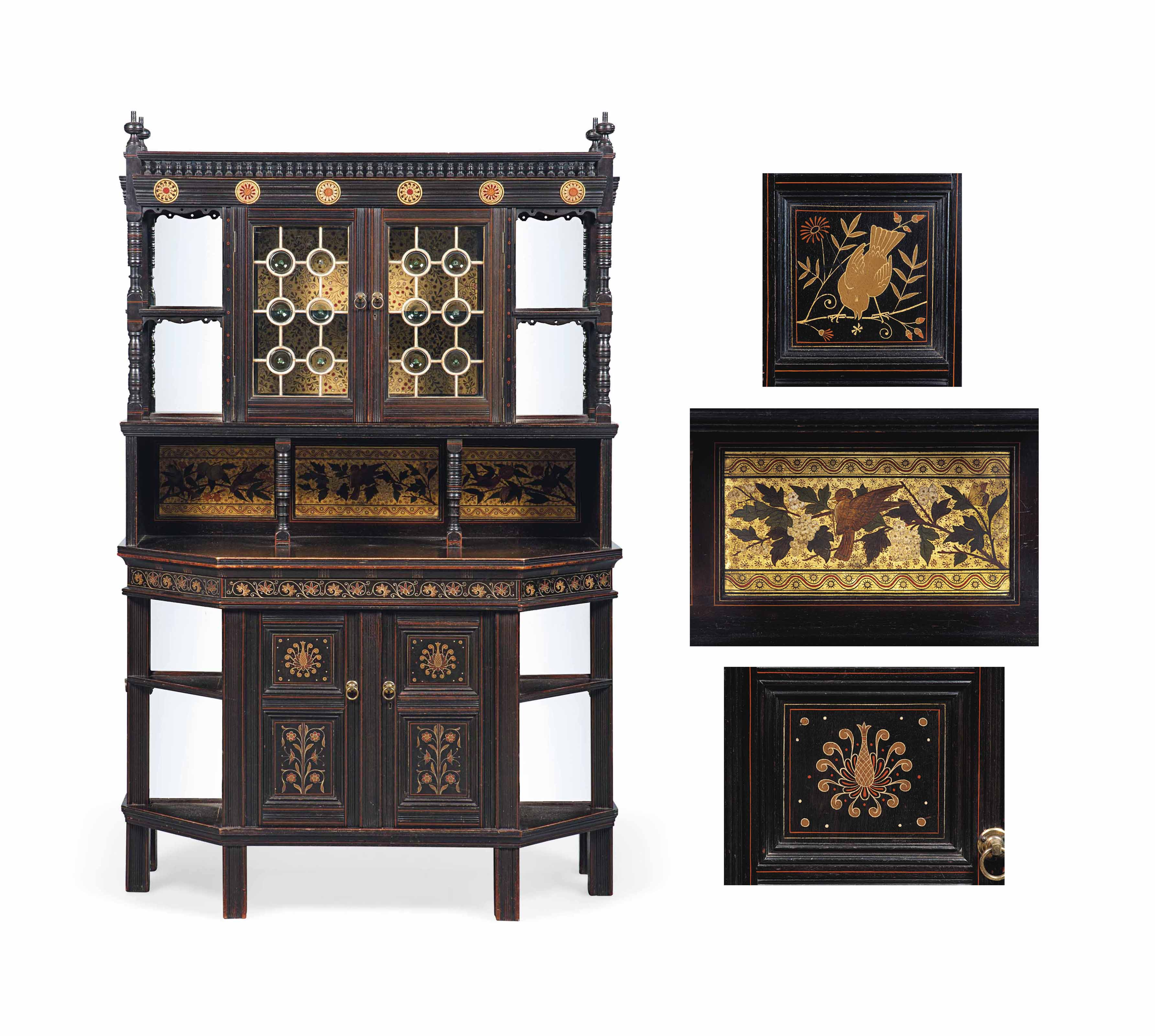 A DANIEL COTTIER (1837-1891) EBONISED WOOD AND DECORATED CABINET