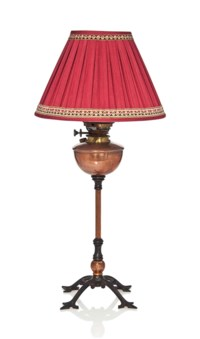 A W.A.S. BENSON  (1854-1924) CAST IRON AND COPPER TABLE LAMP