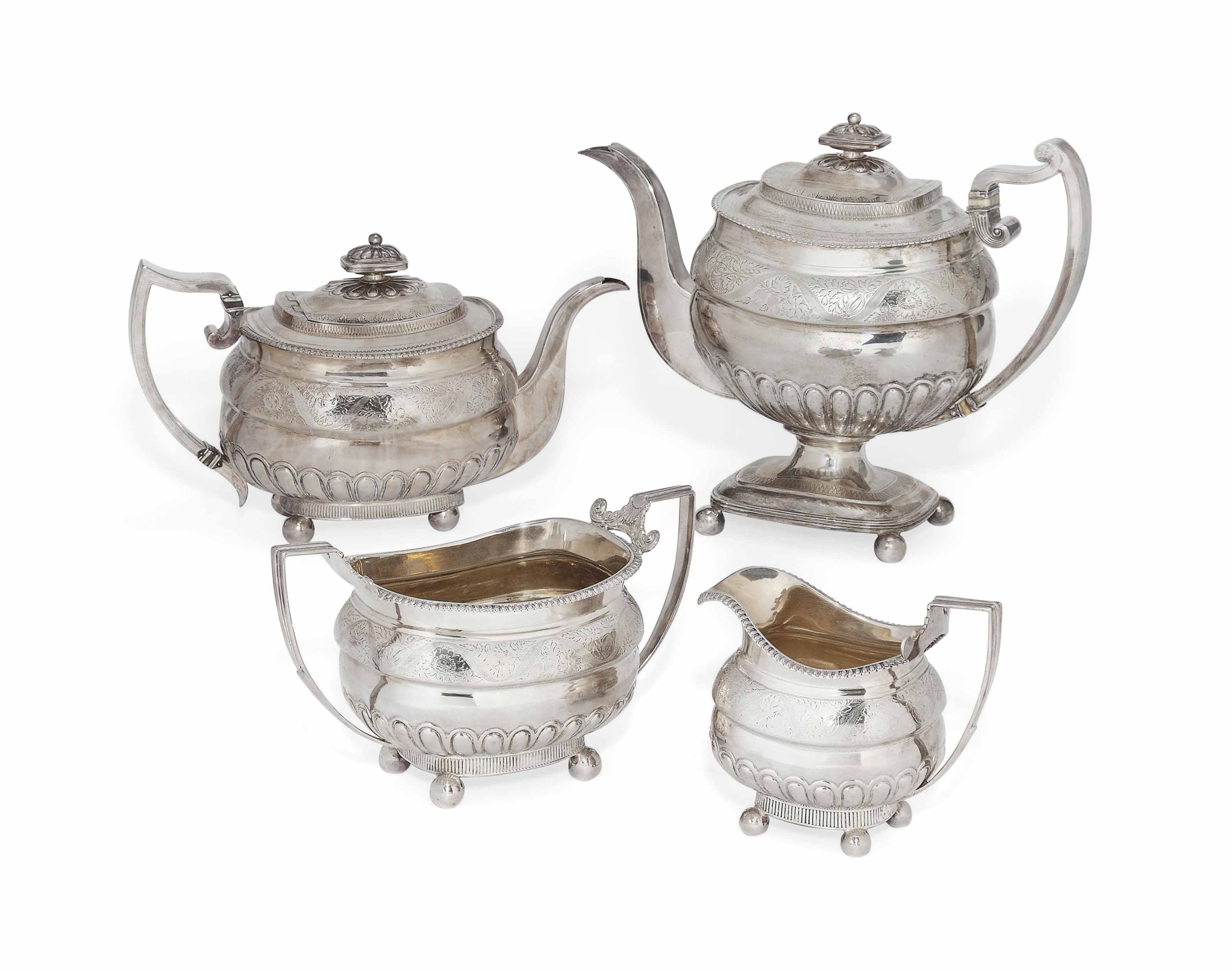 A GEORGE III PROVINCIAL SILVER FOUR-PIECE TEA AND COFFEE SERVICE