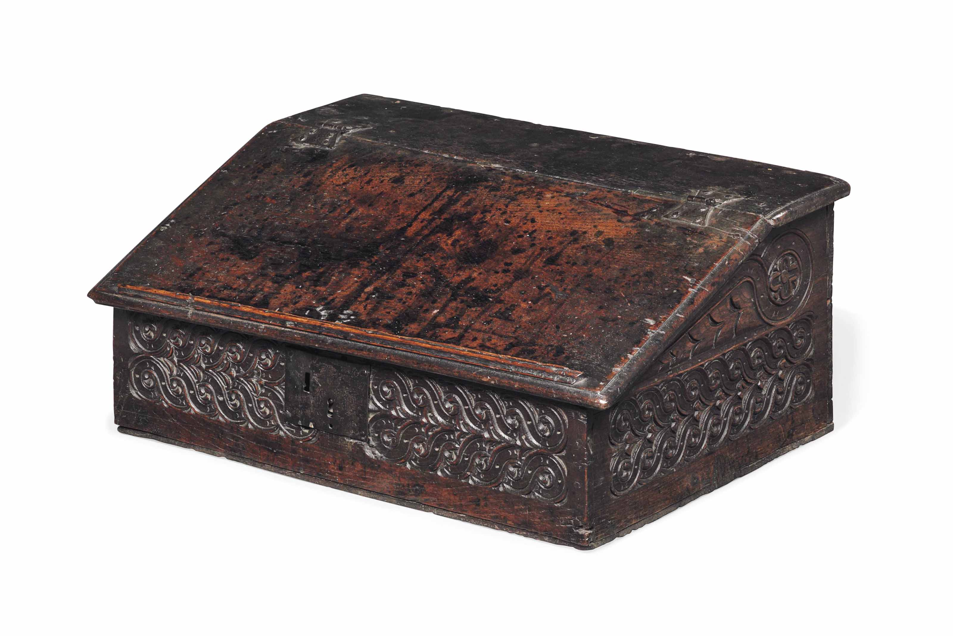 A CHARLES II OAK DESK BOX