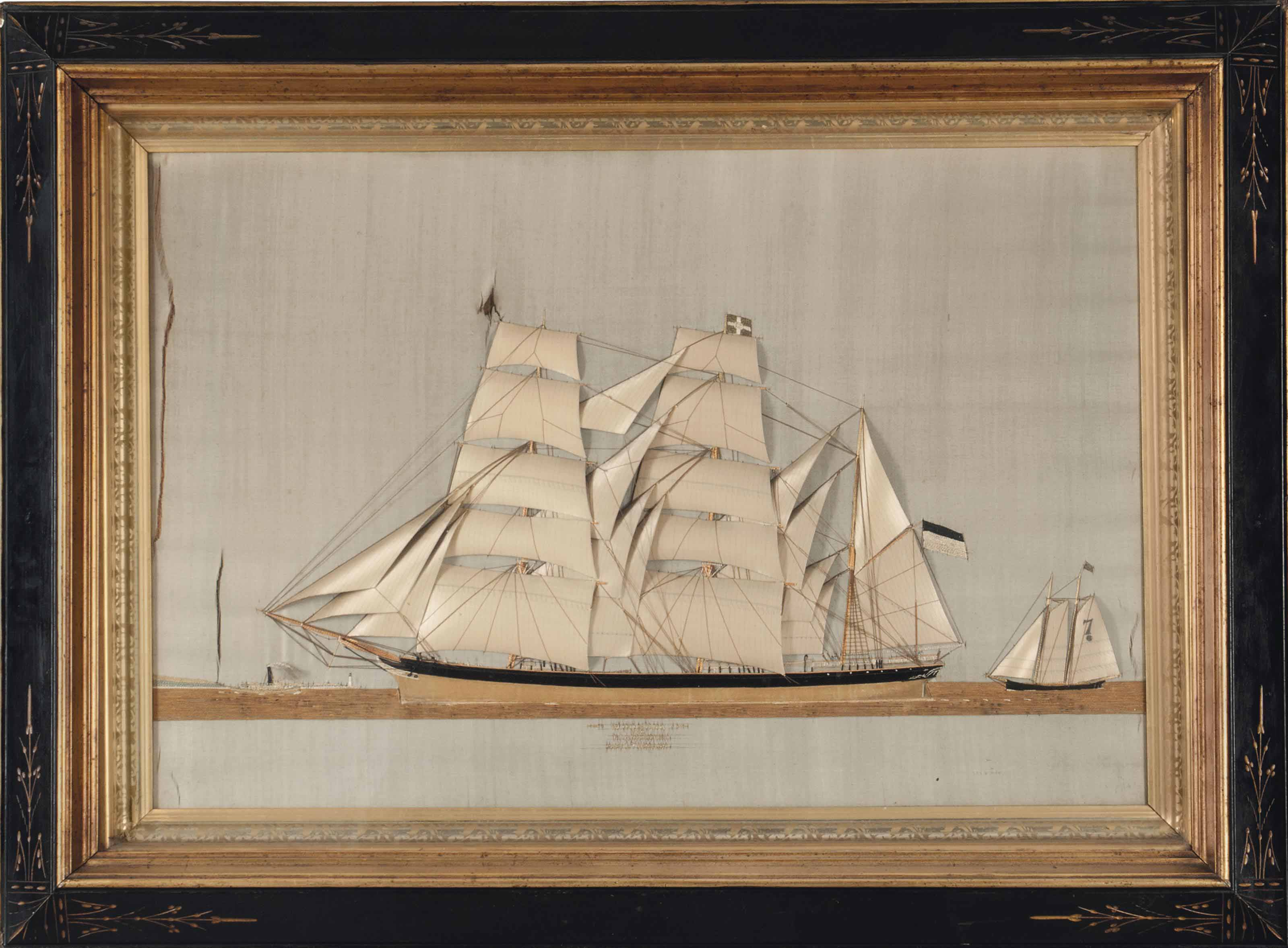 A SILK EMBROIDERED SHIP PICTUR