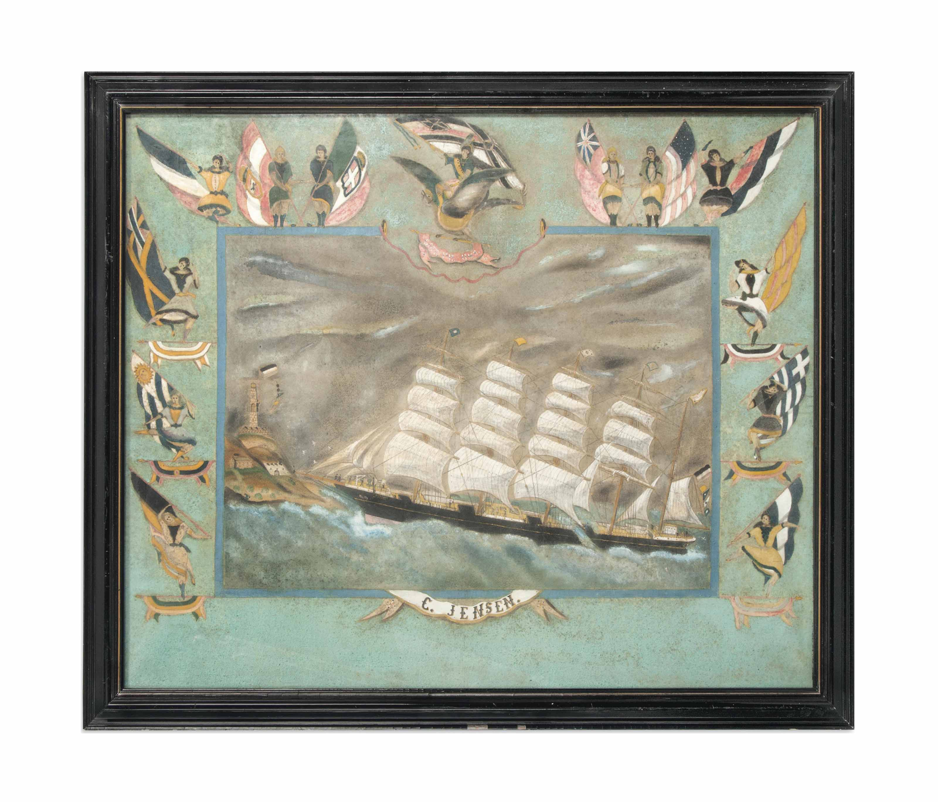 AN OIL ON CANVAS OF A SHIP 'TH