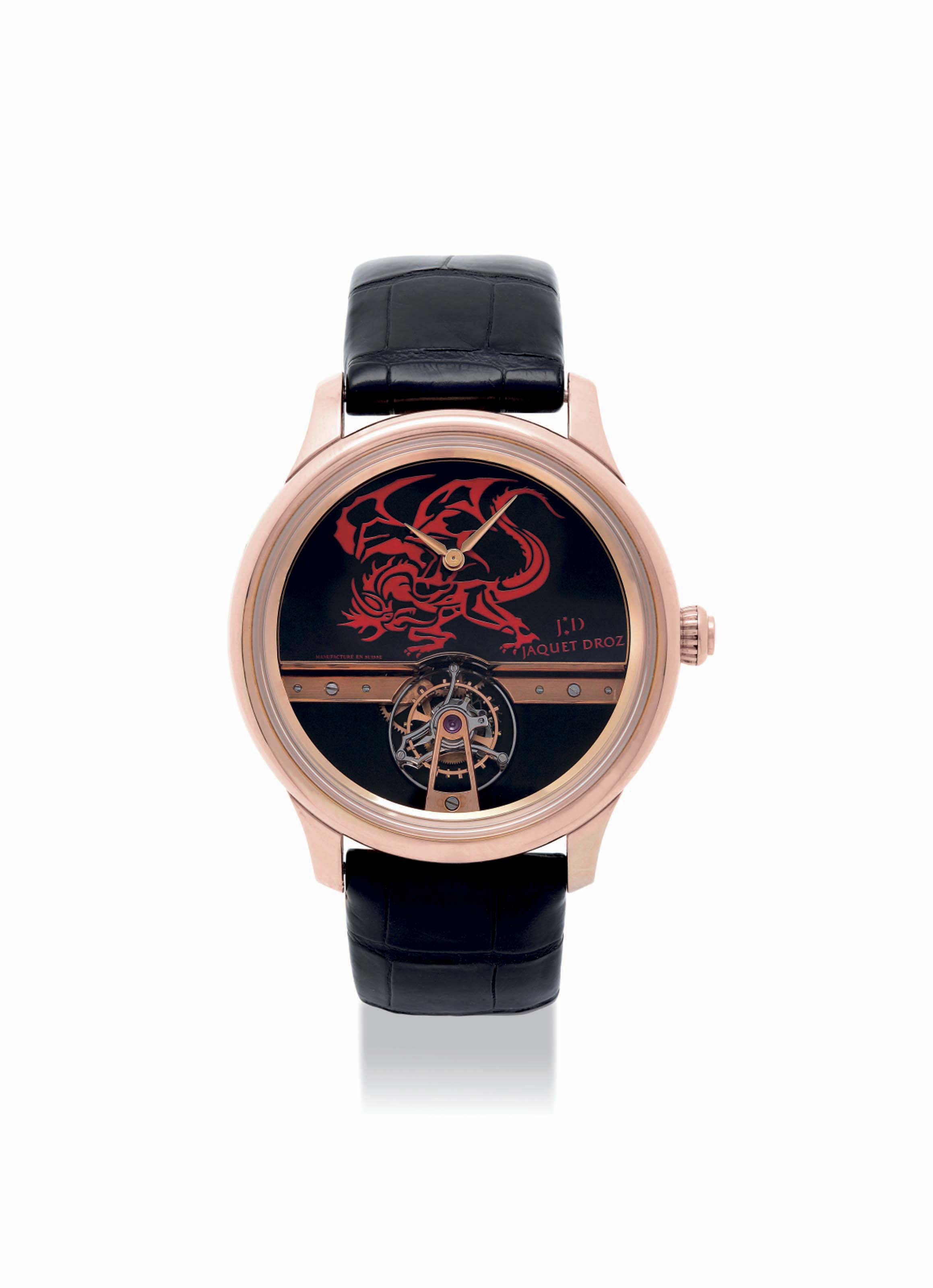JAQUET DROZ. A VERY FINE AND UNIQUE 18K RED GOLD TOURBILLON WRISTWATCH SIGNED JAQUET DROZ, NO, CIRCA 2008