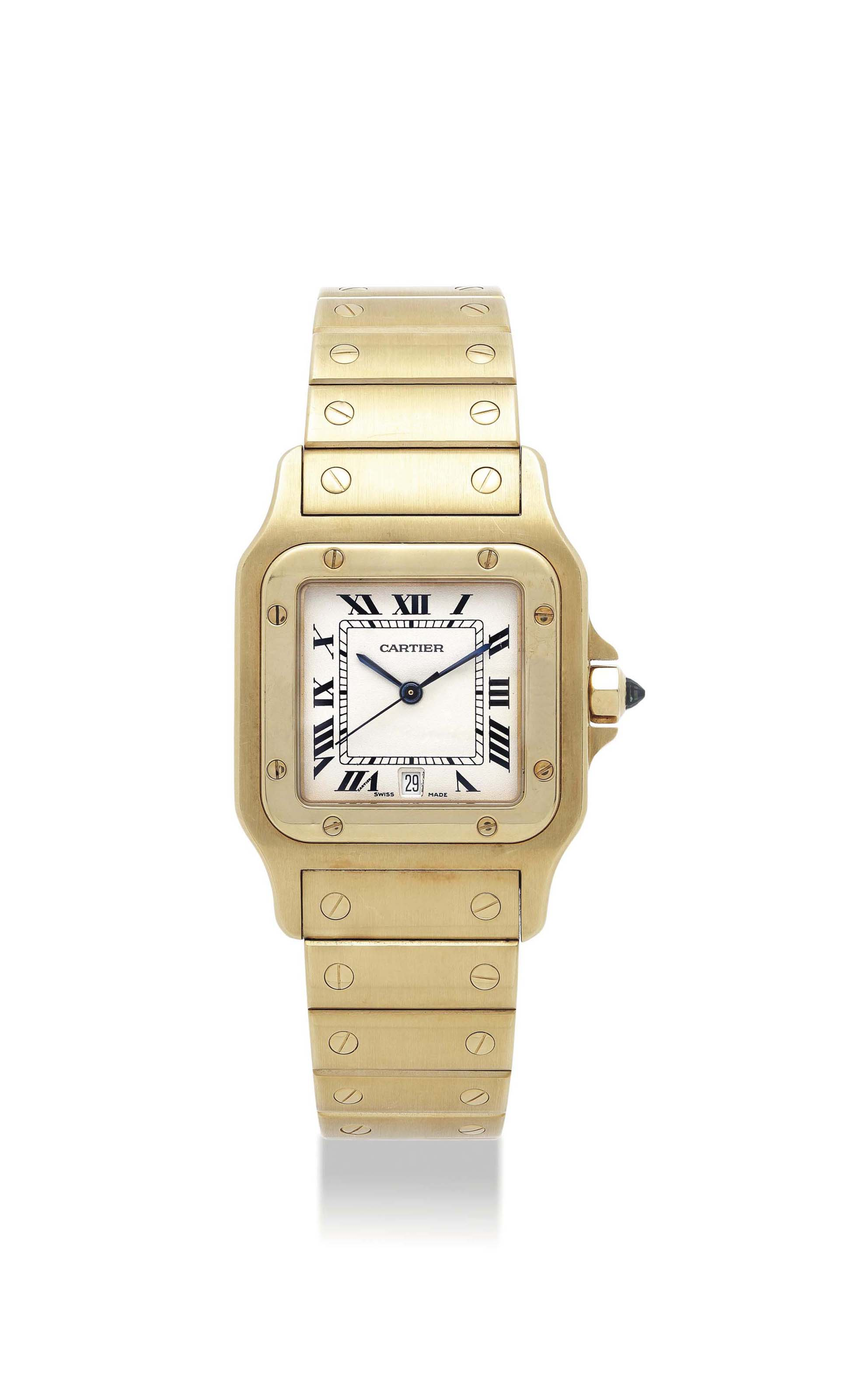 CARTIER. AN 18K GOLD SQUARE BR