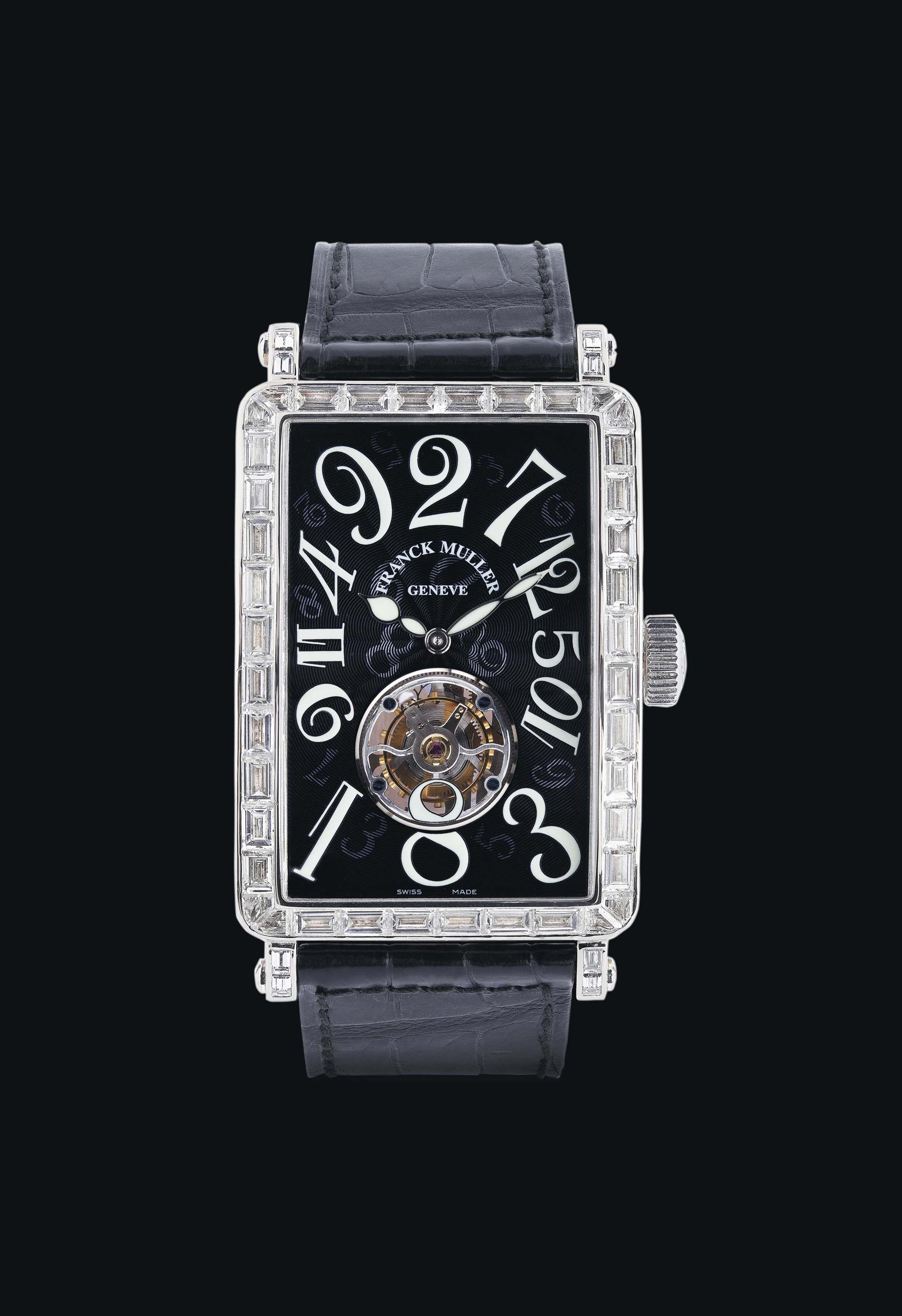 FRANCK MULLER. A VERY FINE AND RARE 18K WHITE GOLD AND DIAMOND-SET RECTANGULAR TOURBILLON JUMPING HOUR WRISTWATCH SIGNED FRANCK MULLER, LONG ISLAND CRAZY HOUR TOURBILLON MODEL, REF.1300 T CH BAG, MOVEMENT NO. FM2001-2HF, CASE NO.03, CIRCA 2005