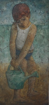 Young Boy with Watering Can