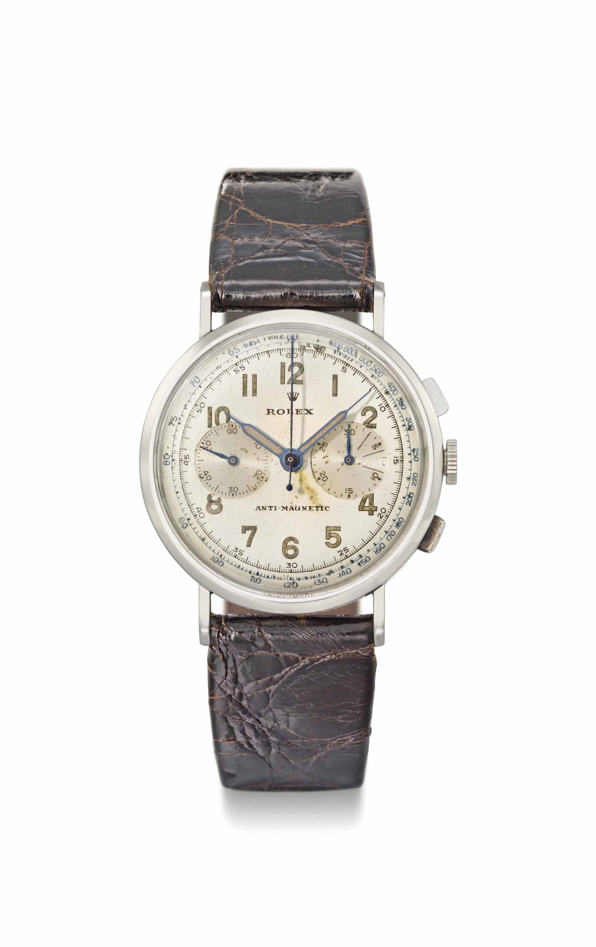 Rolex. A fine and rare stainless steel chronograph wristwatch