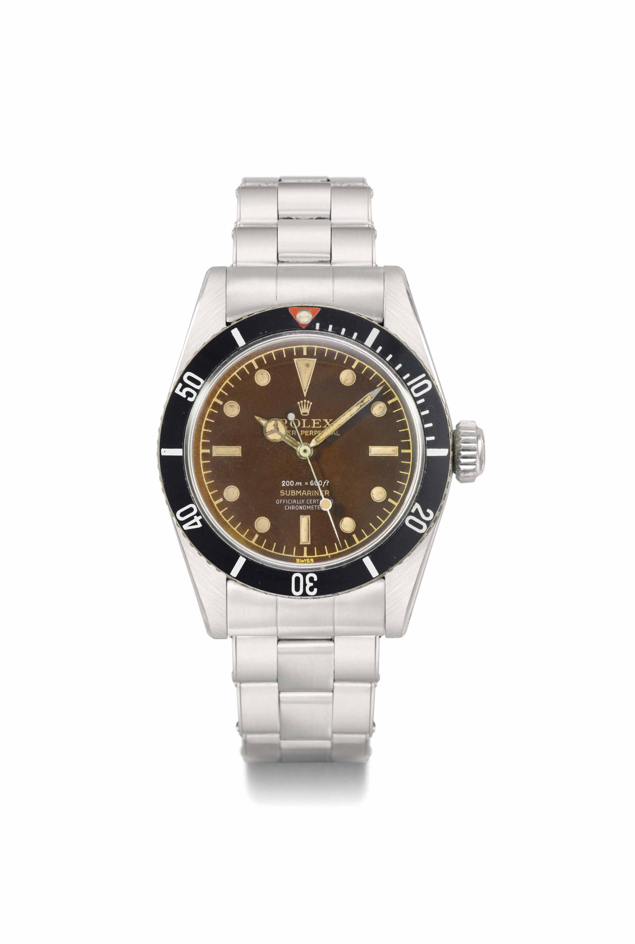 "Rolex. A highly charismatic and extremely rare stainless steel automatic sweep centre seconds wristwatch with bracelet and brown-colored ""Four-Liner"" dial"