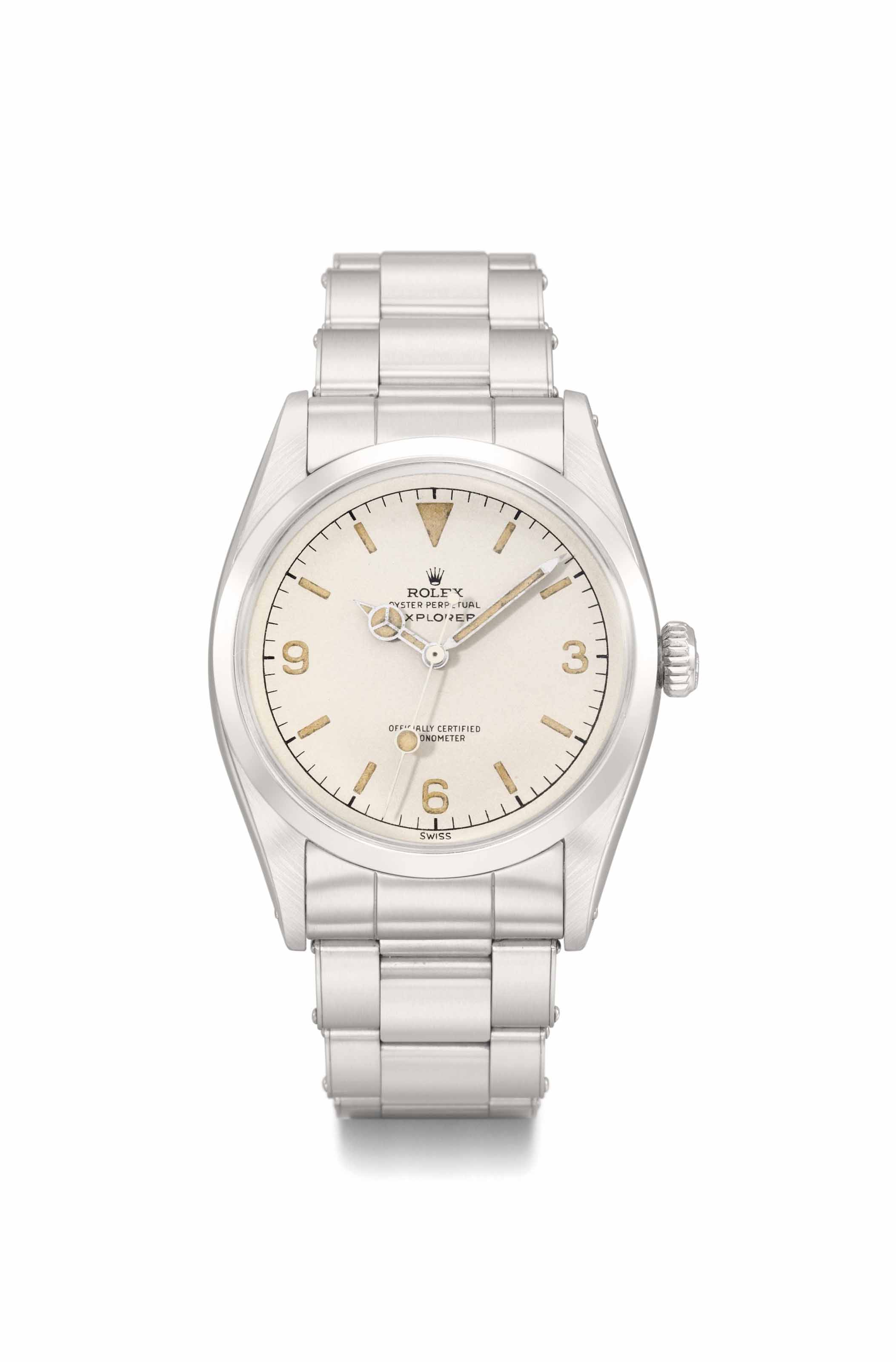 Rolex. A very fine and unusual stainless steel automatic wristwatch with sweep centre seconds, bracelet and off-white dial