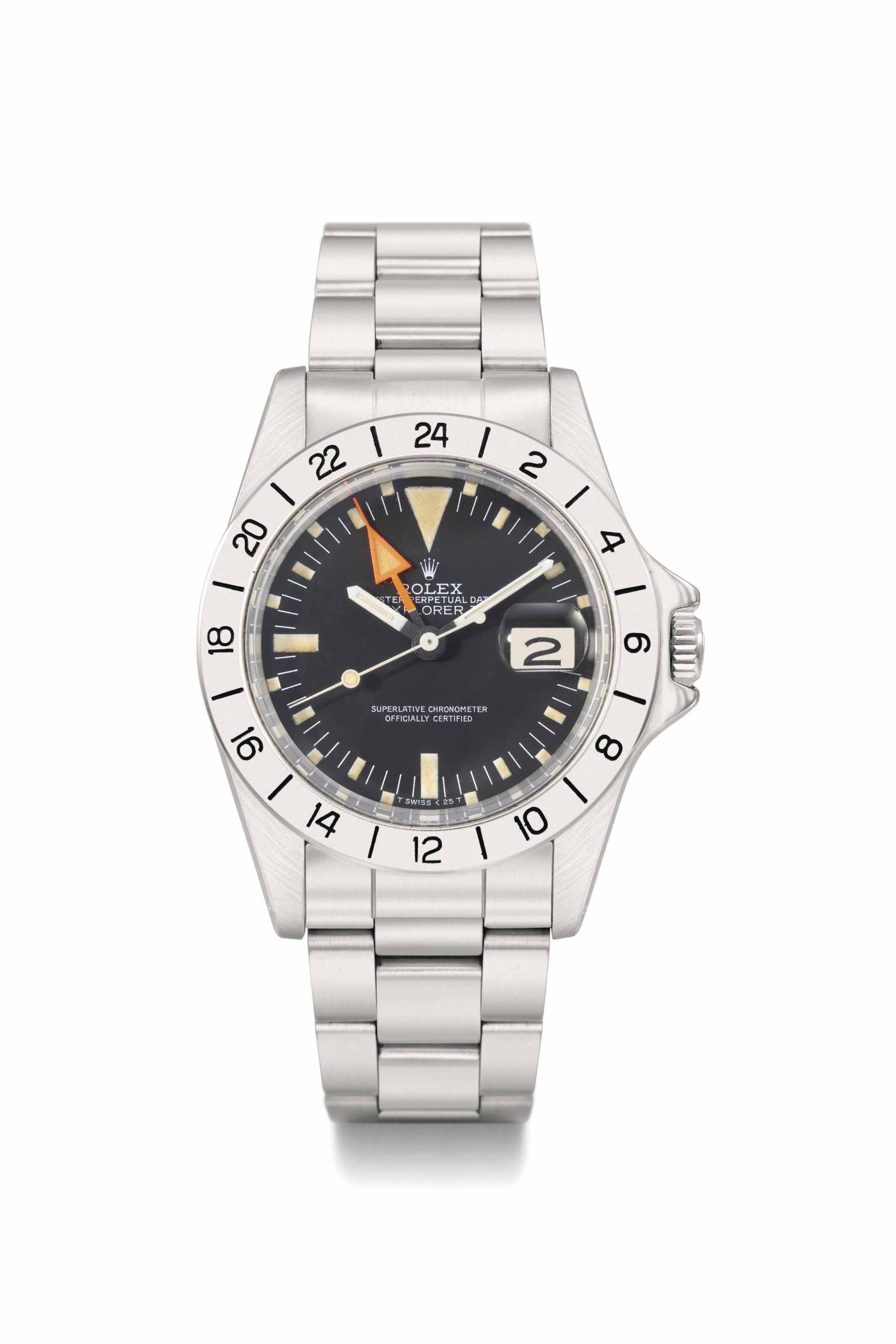 Rolex. A stainless steel automatic wristwatch with sweep centre seconds, 24 hours, date and bracelet