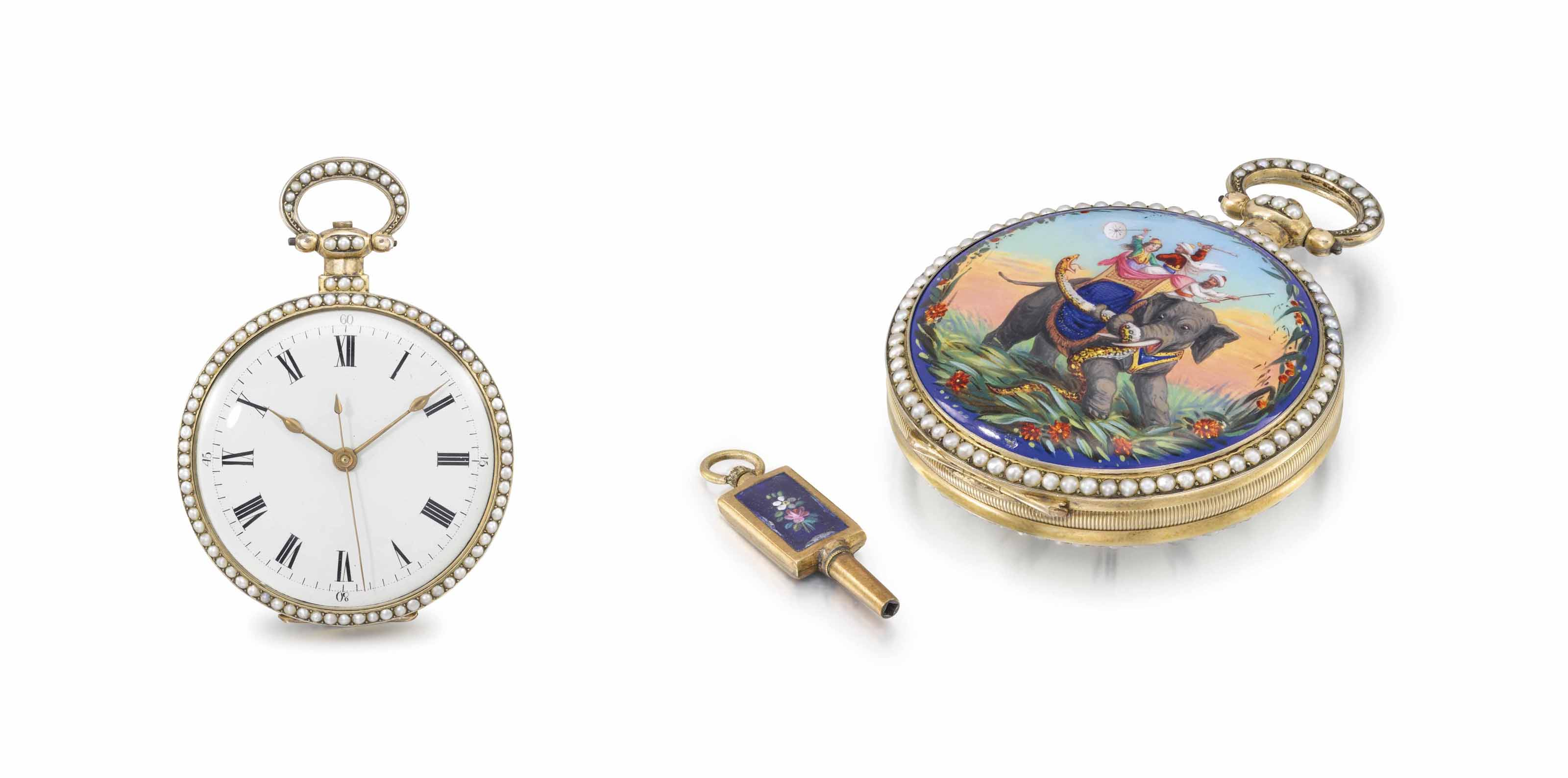 Edouard Juvet. A fine, rare and attractive silver gilt, enamel and pearl-set centre seconds duplex watch, made for the Chinese market, with key