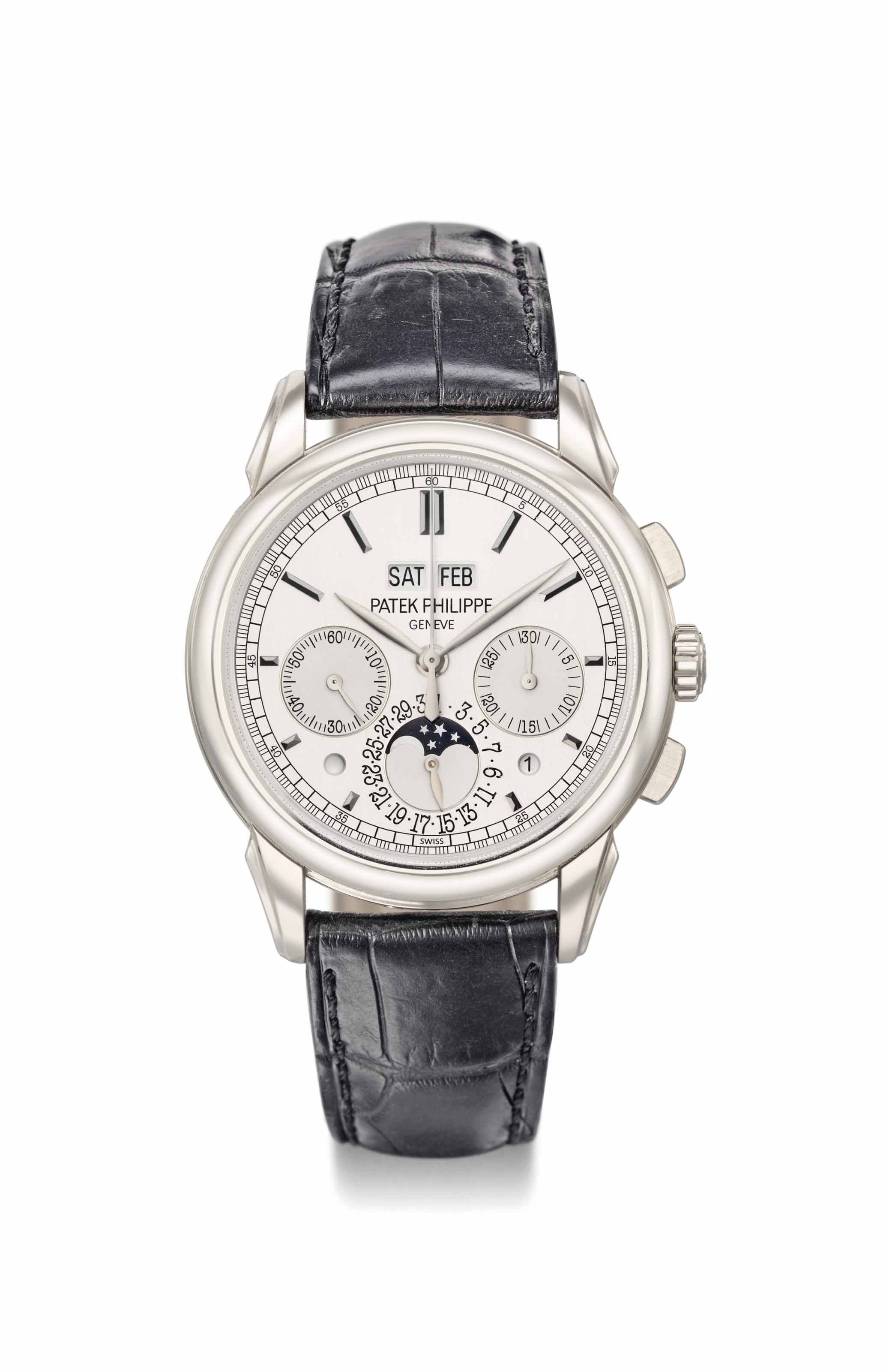 Patek philippe a fine 18k white gold perpetual calendar chronograph wristwatch with moon phases for Patek philippe geneve