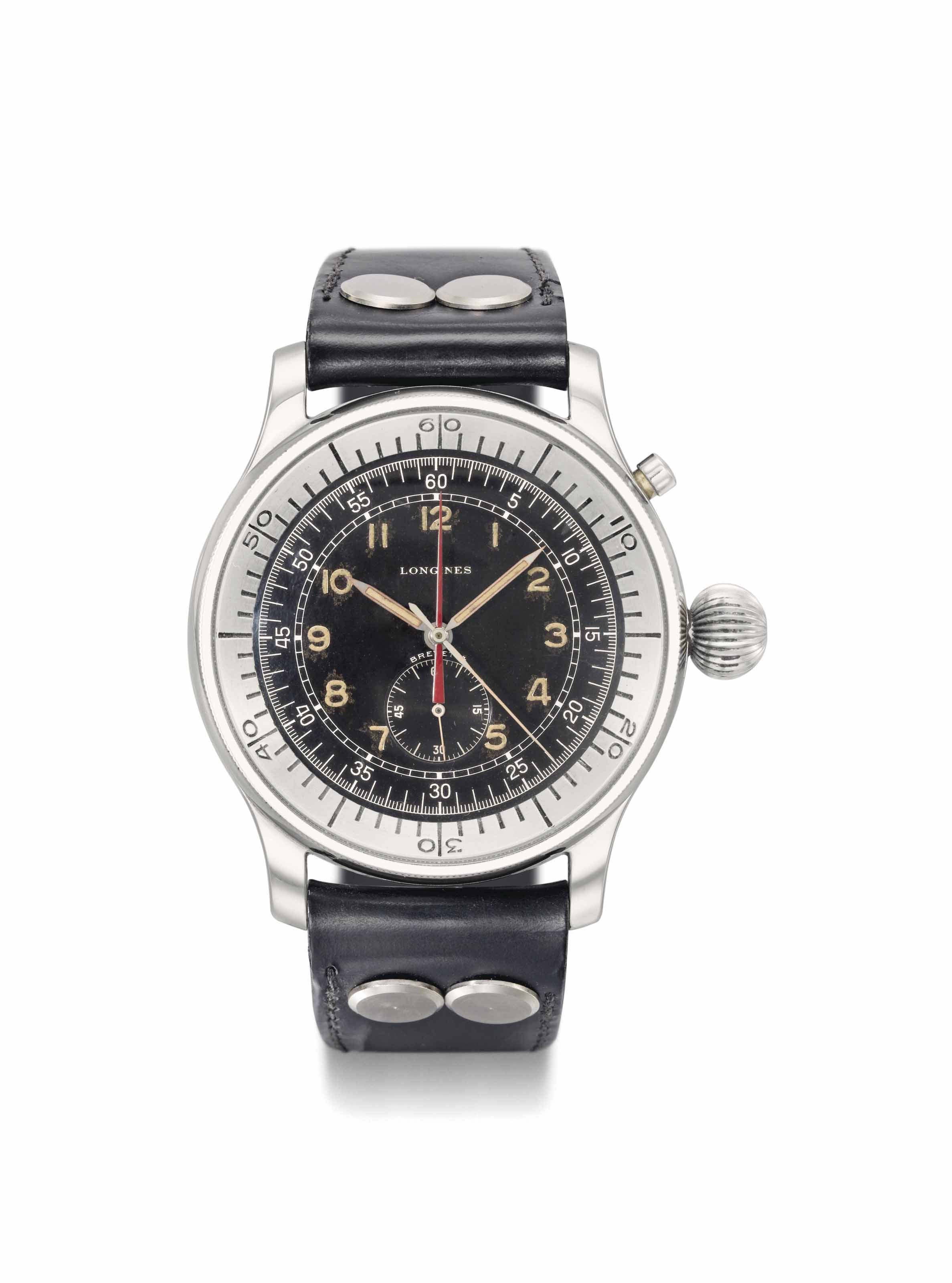 Longines. A rare and unusual, attractive large stainless steel single button flyback aviator's chronograph wristwatch with black military dial and central register