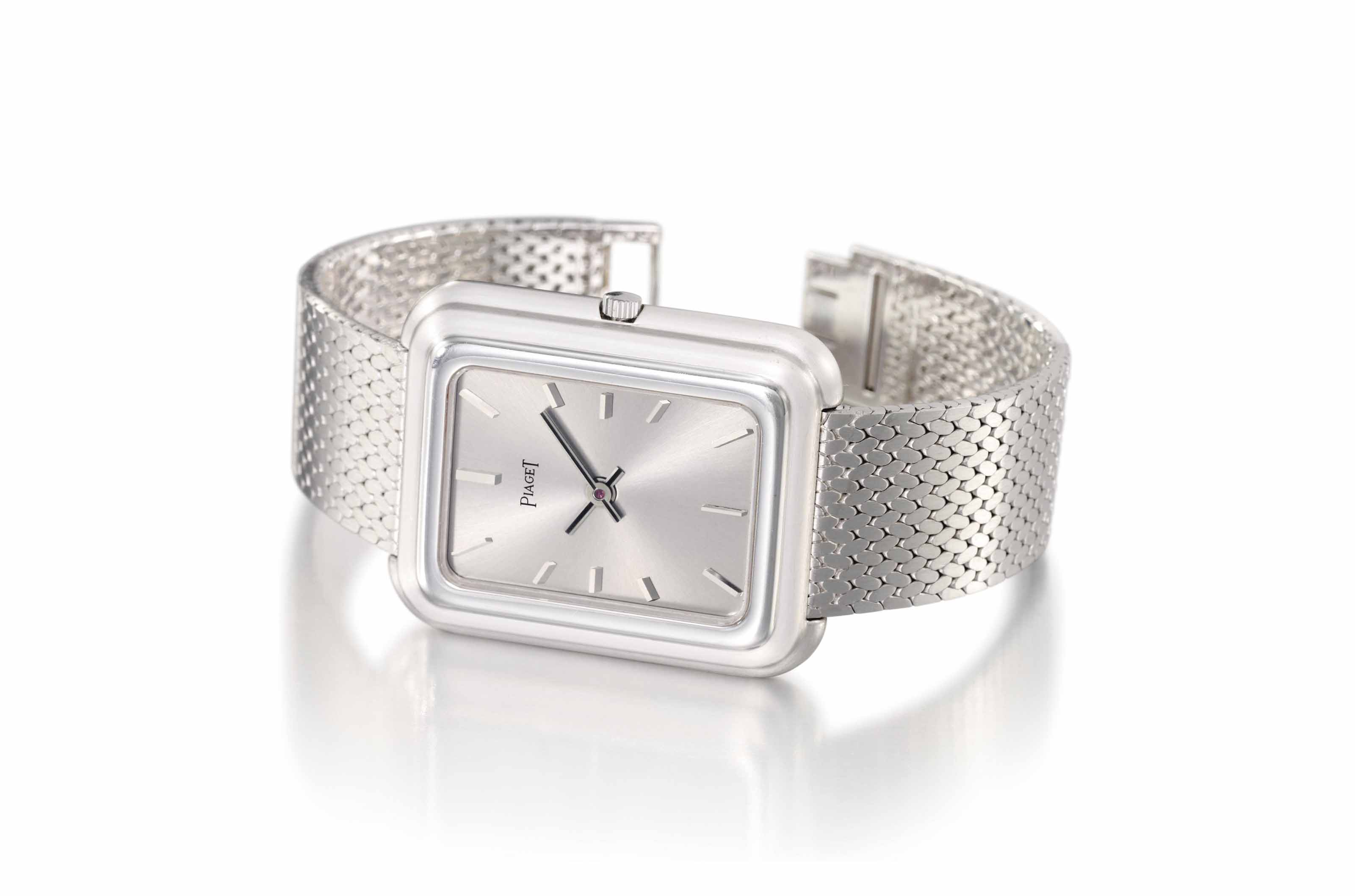 3b8db7334d8 Piaget. A large and unusual 18K white gold rectangular wristwatch ...