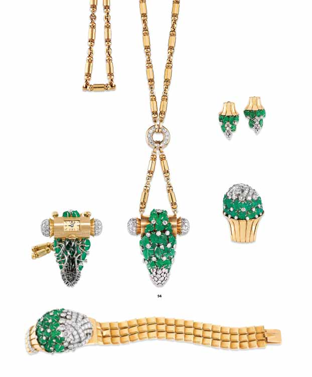 A SET OF RETRO EMERALD, DIAMOND AND GOLD JEWELLERY, BY GÜBELIN
