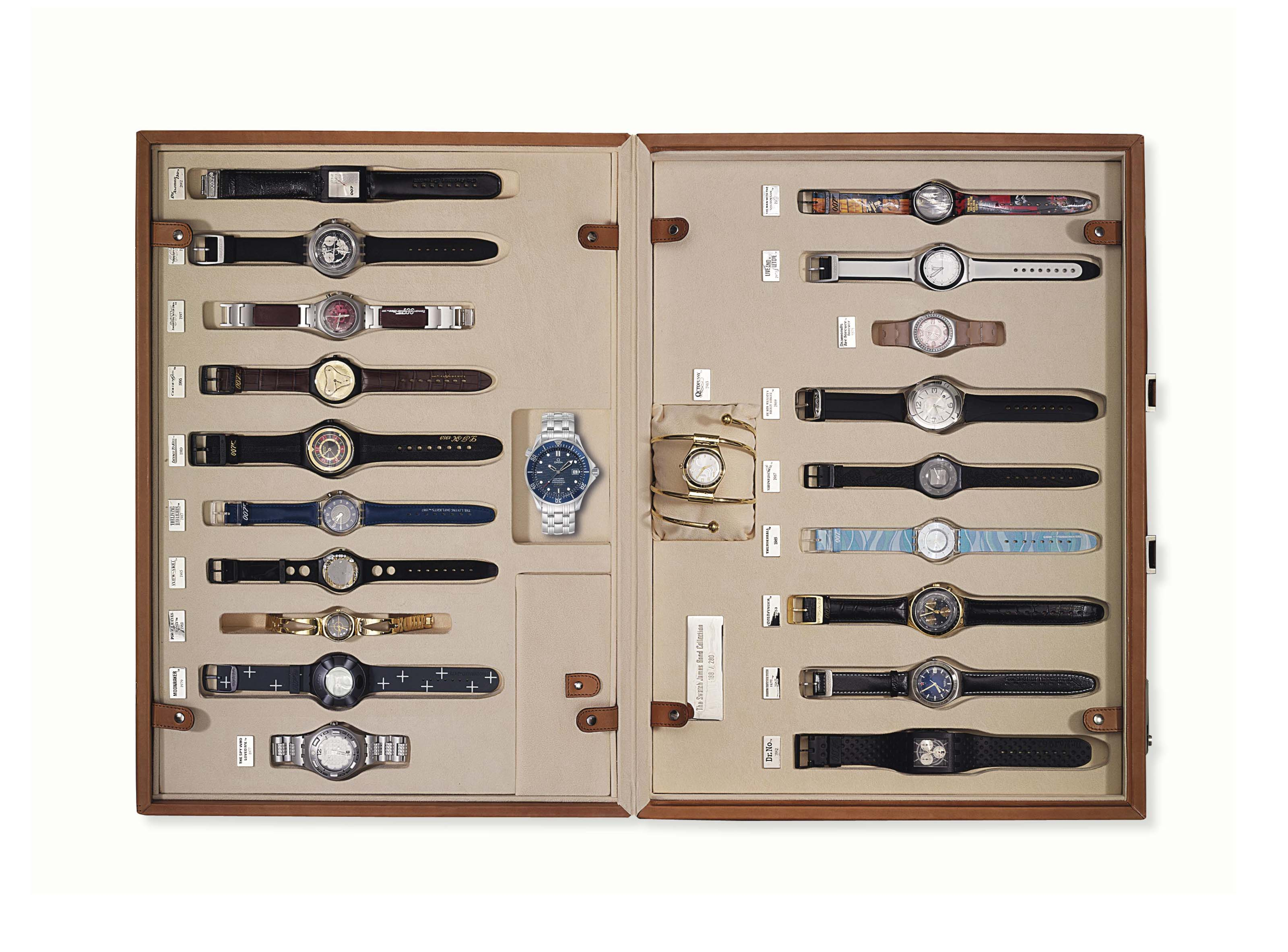 Swatch and Omega. A group of twenty-one quartz and automatic wristwatches, made to commemorate the 40th anniversary of the James Bond movie