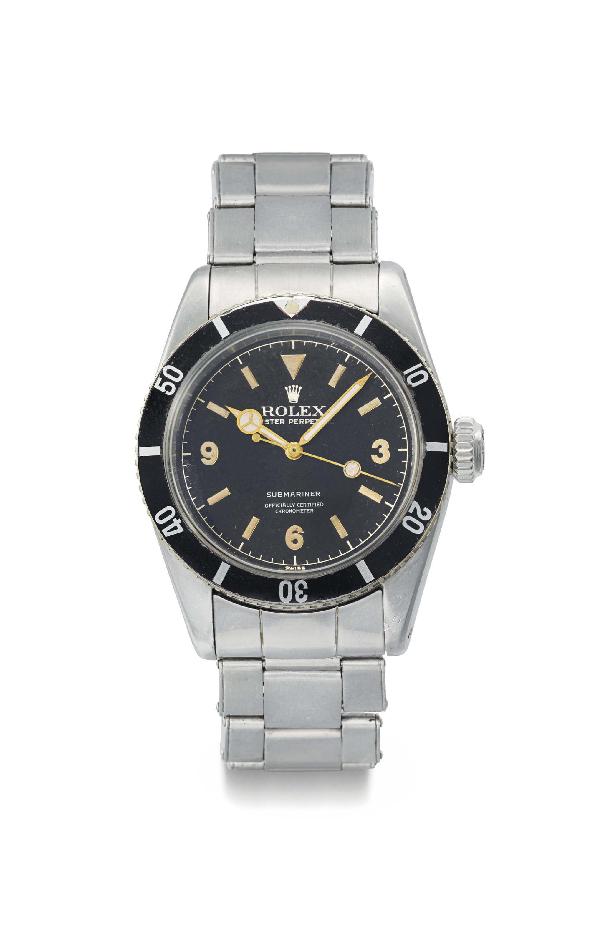 """Rolex. An extremely rare stainless steel automatic wristwatch with sweep centre seconds, bracelet and """"Explorer Dial"""""""