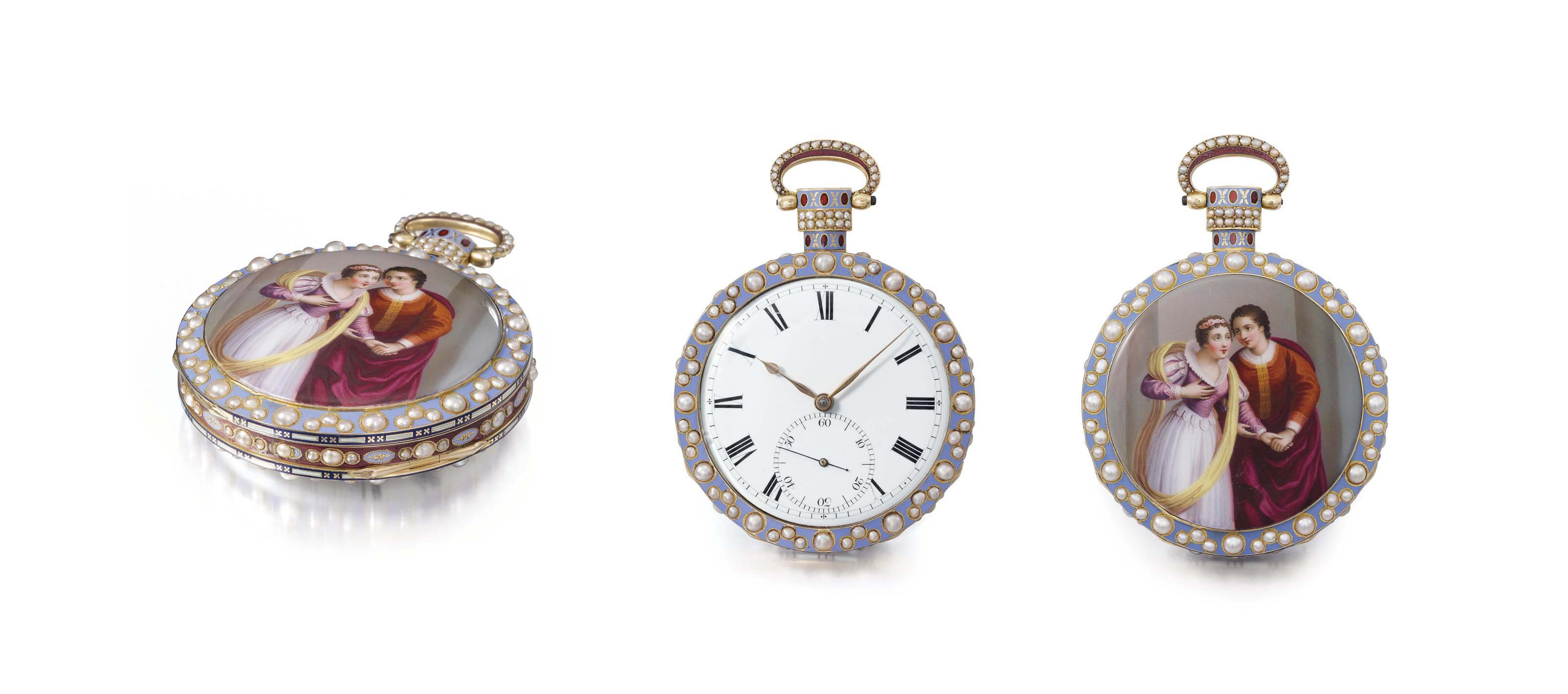 Bovet. A very fine, large and impressive 18K gold, enamel and pearl-set openface duplex watch with enamel attributed to Dupont, made for the Chinese Market