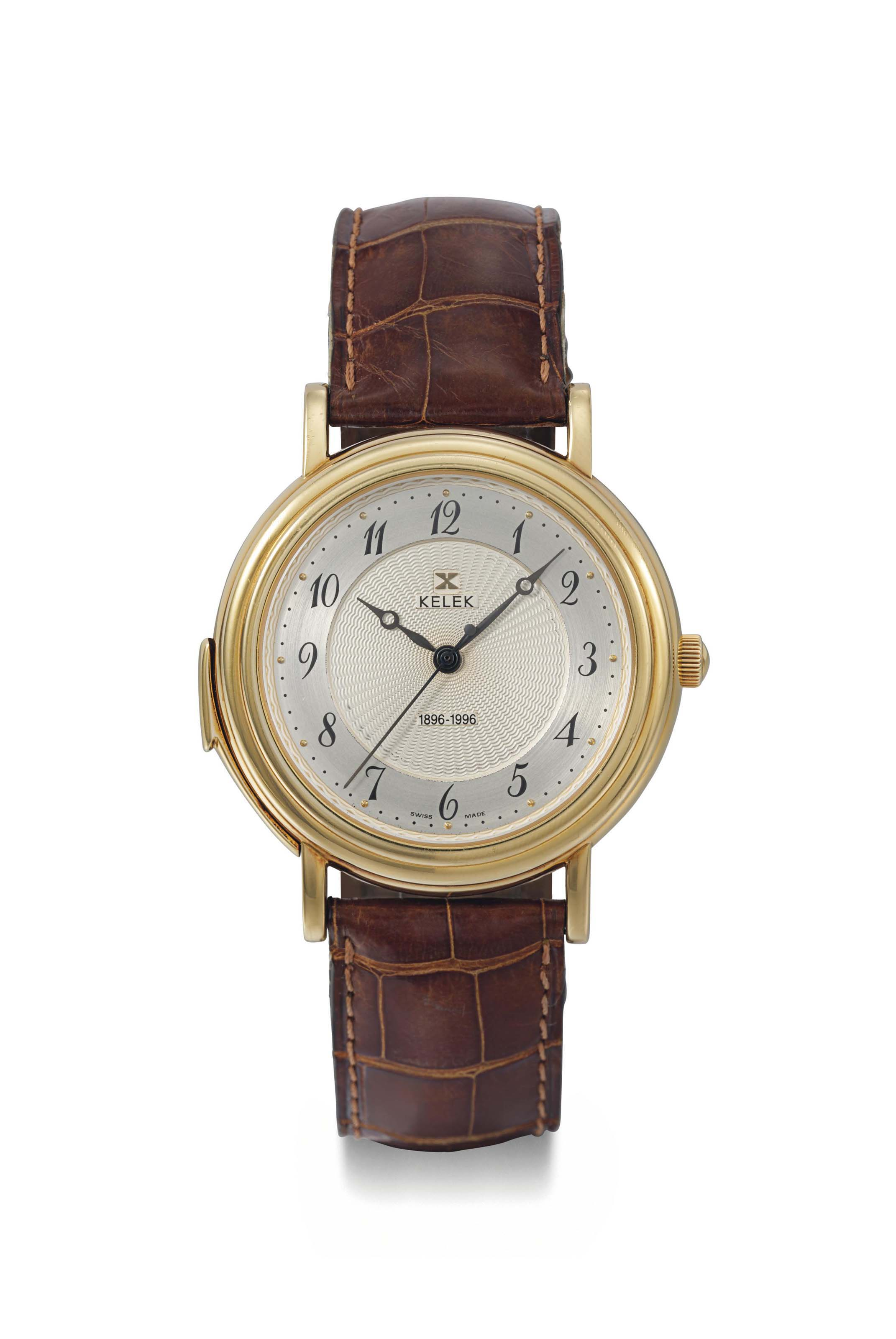 Kelek. A fine 18K gold limited edition automatic hour and quarter repeating wristwatch with original box and guarantee