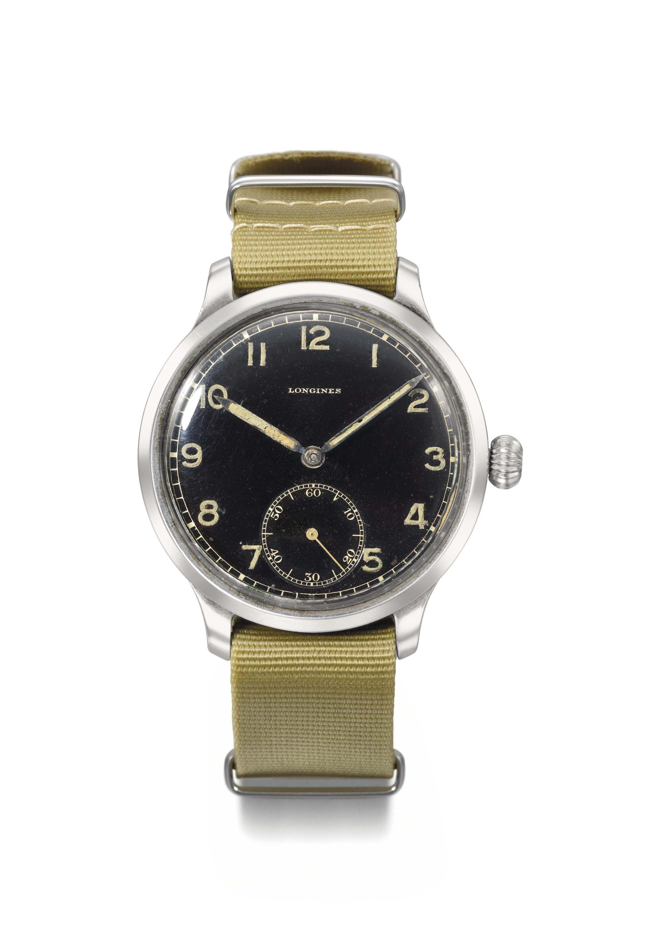 Longines. A large and attractive stainless steel military wristwatch with black dial