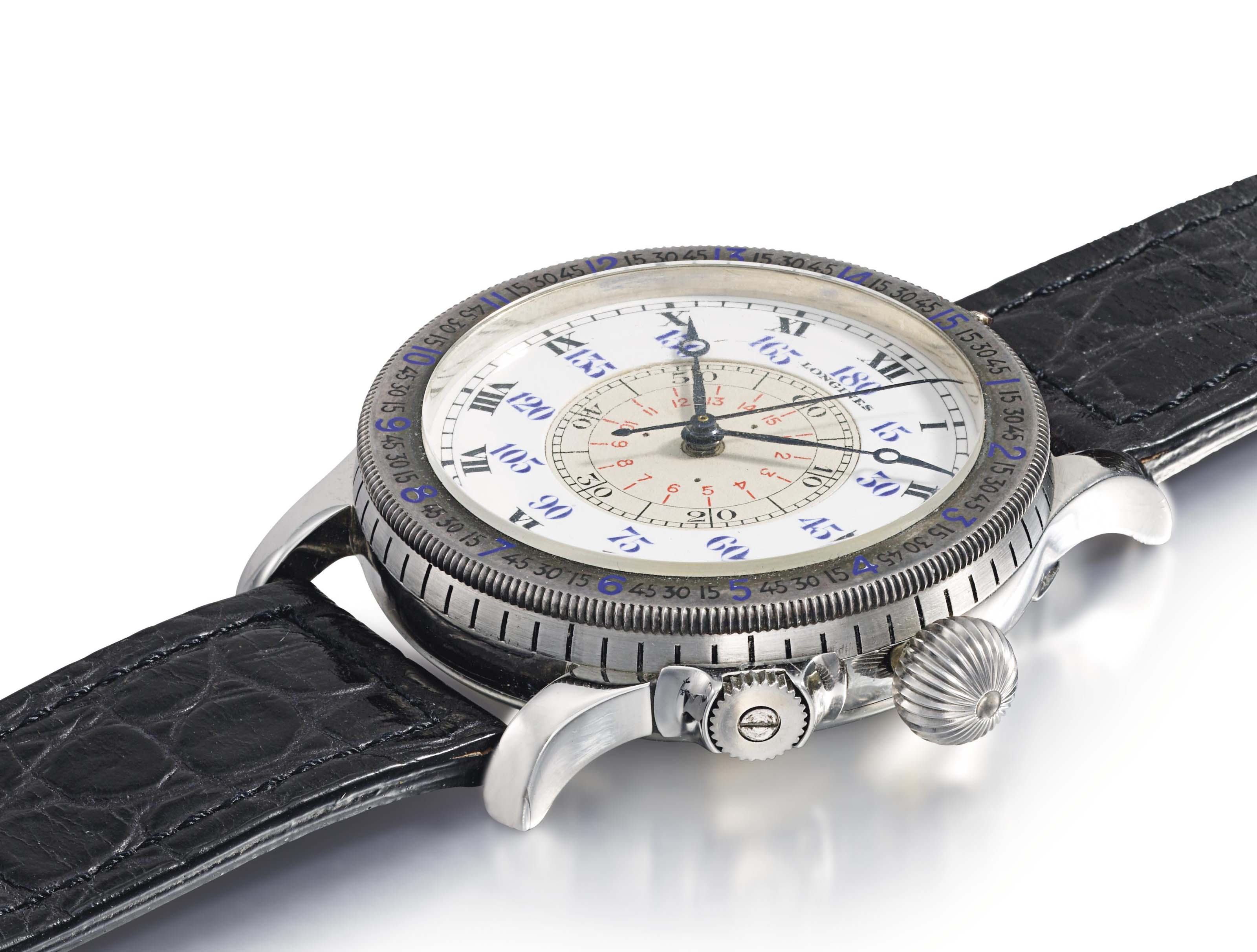 Longines. A fine, rare and large stainless steel aviator's wristwatch with sweep centre seconds and slide rule