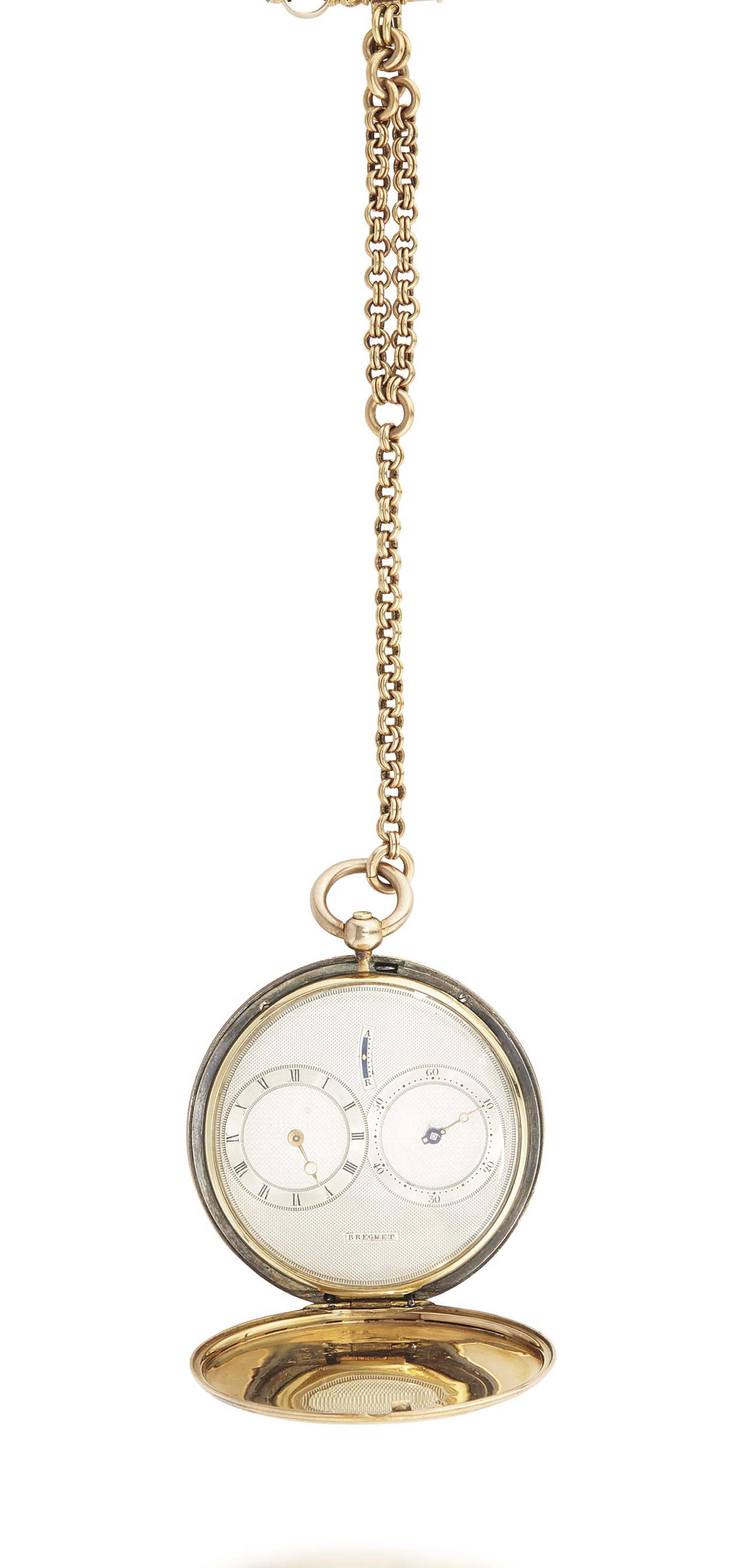 """Breguet No. 4420 """"Montre simple plate à deux cadrans excentriques d'heures et minutes"""". A very fine, rare and historically important 18K gold and silver hunter case cylinder watch with excentric hour and minute dials, sold to HM King George IV of Great Britain, with origianl fitted red Morocco box no. 4420"""