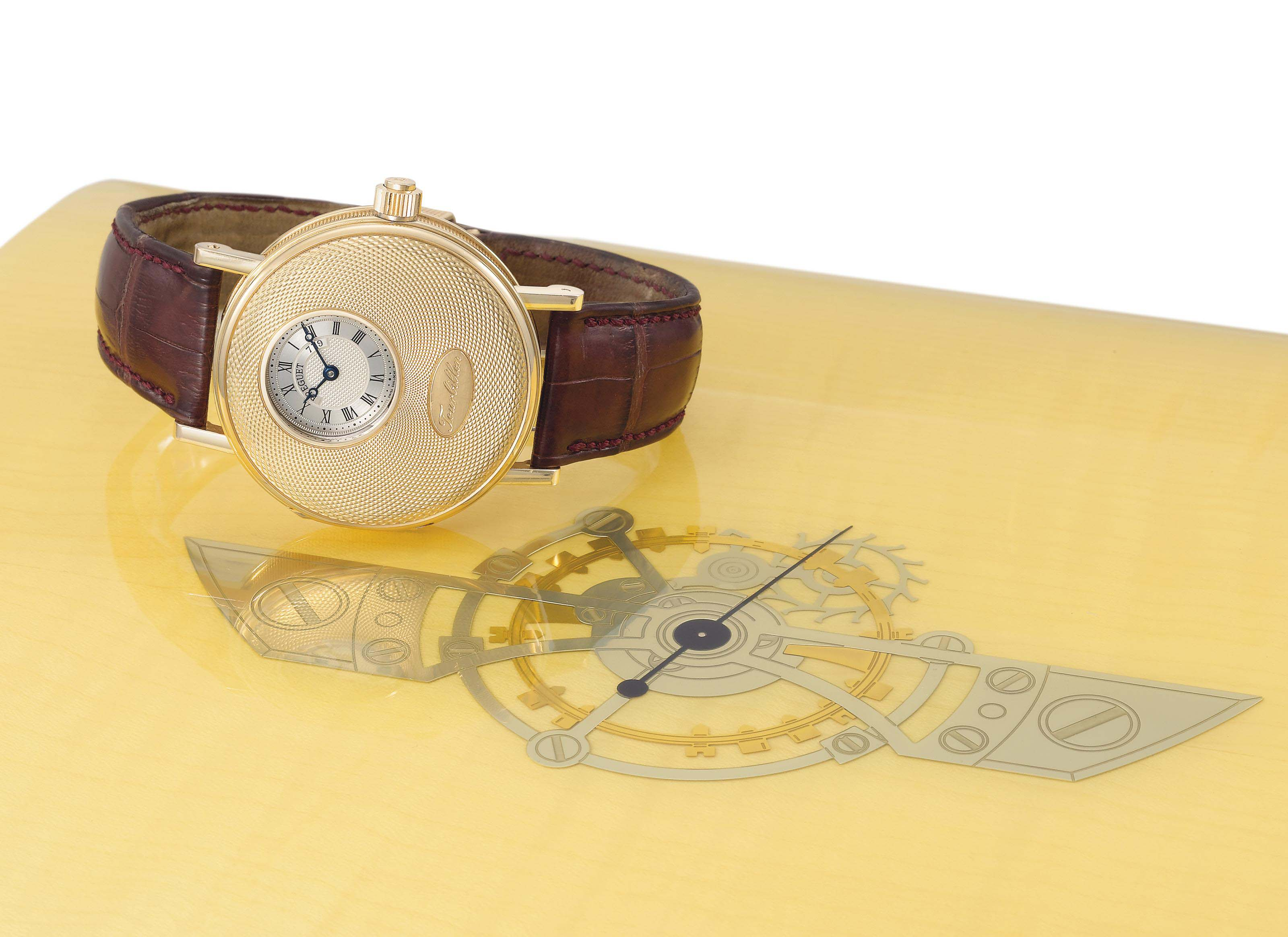 Breguet. A very fine and rare 18K special edition pink gold half hunter case tourbillon wristwatch with certificate and box