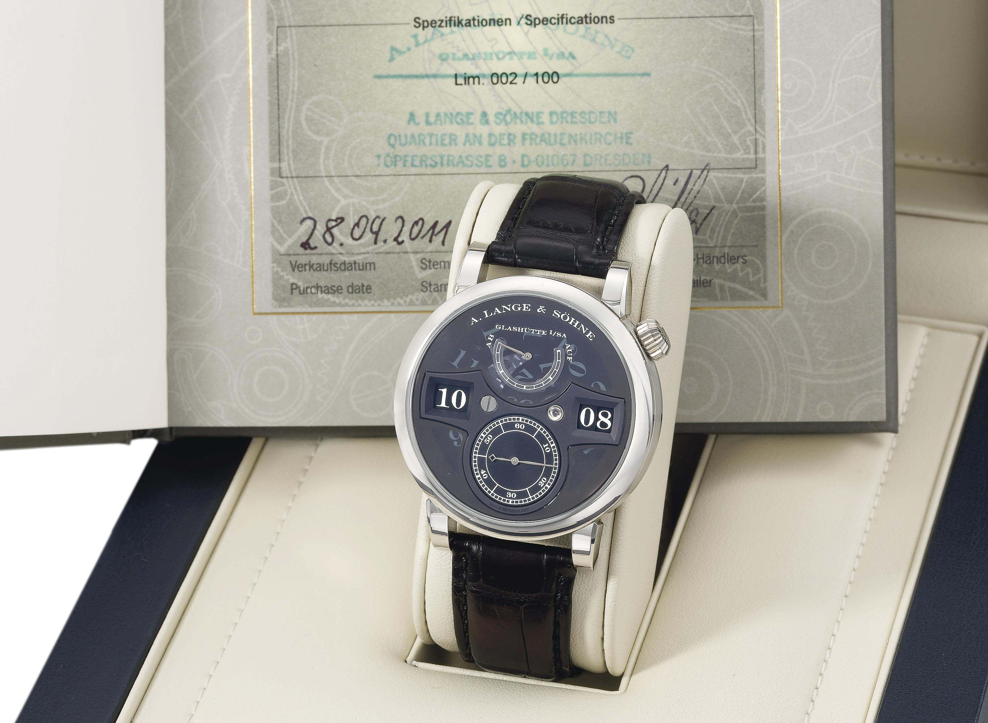A. Lange & Söhne. A very rare, fine and large platinum limited edition wristwatch with power reserve and digital time display