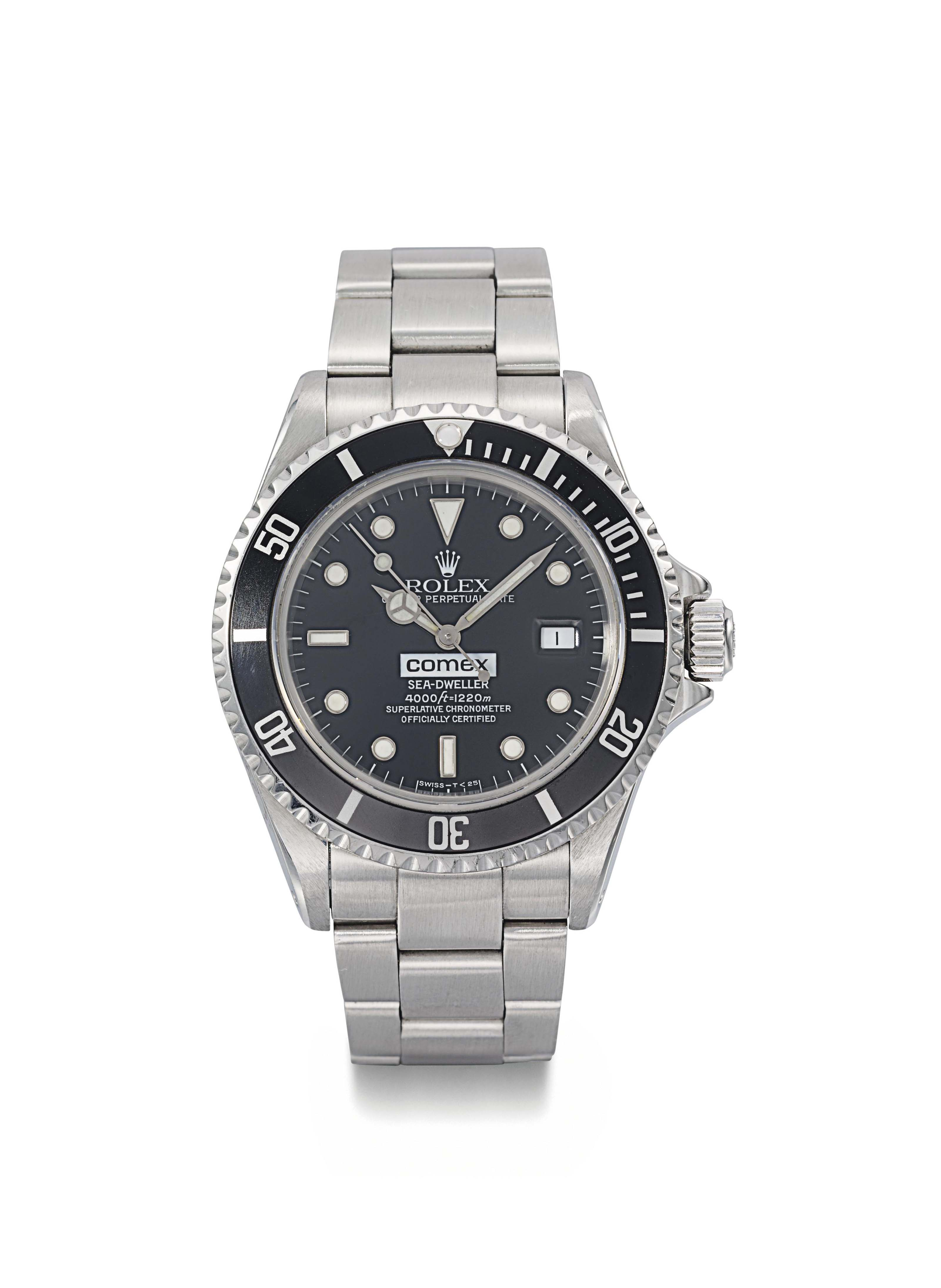 Rolex. A rare stainless steel automatic wristwatch with sweep centre seconds, date, gas escape valve, bracelet, Guarantee and box, made for COMEX
