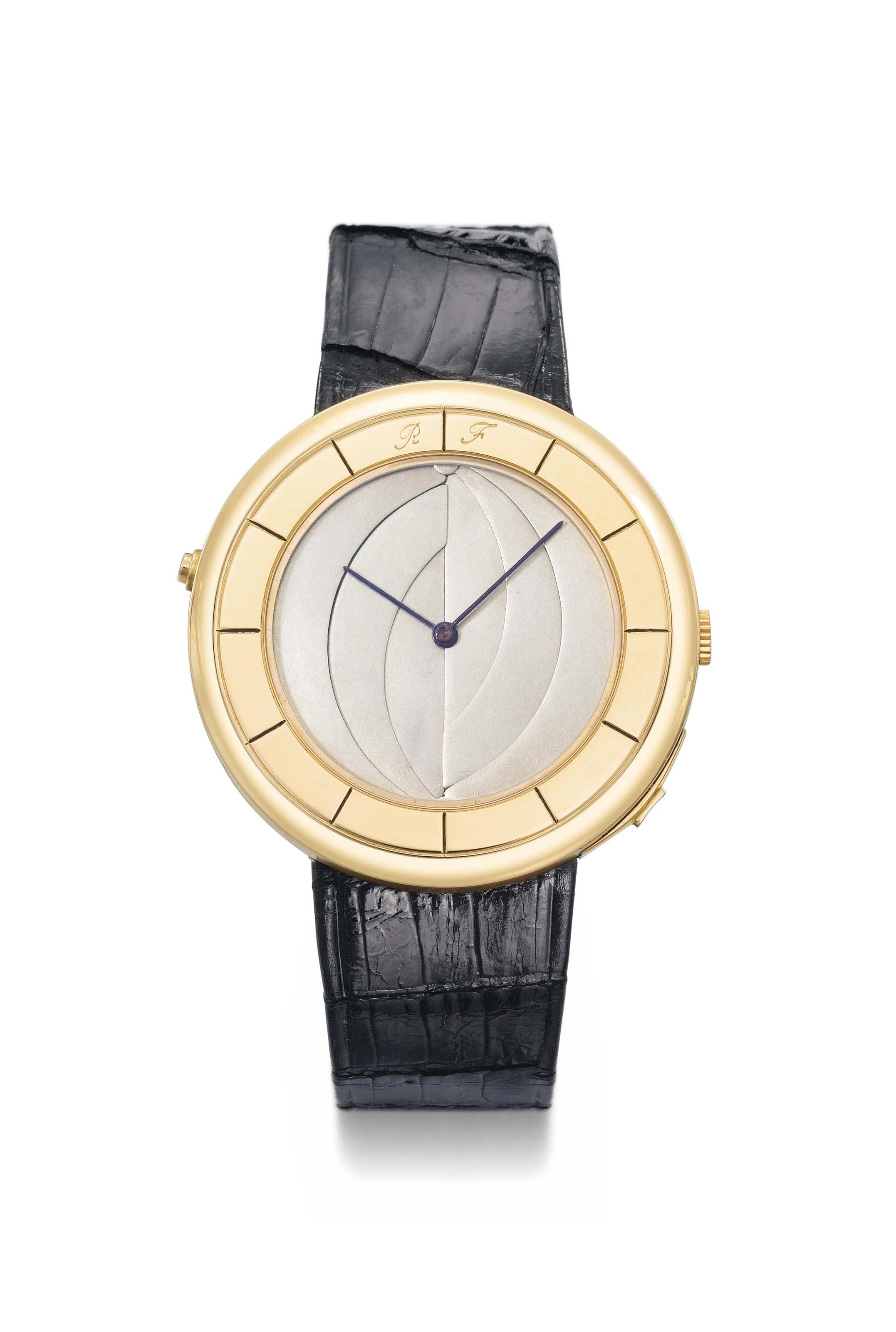 Falcone. A probably unique 18K pink gold wristwatch with concealed erotic scene on white enamel dial