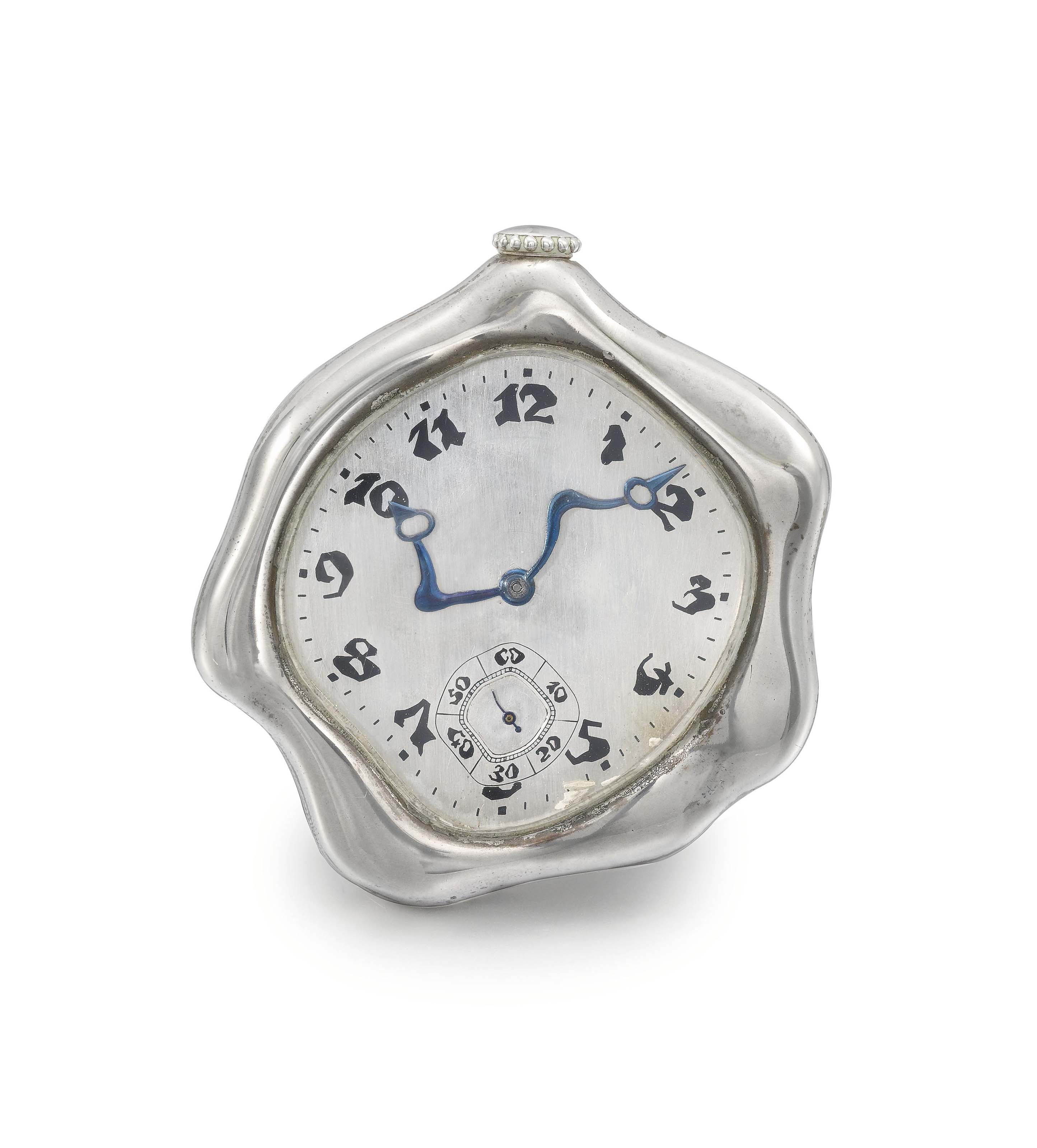 Falcone. A fine and rare large silver asymmetrical watch