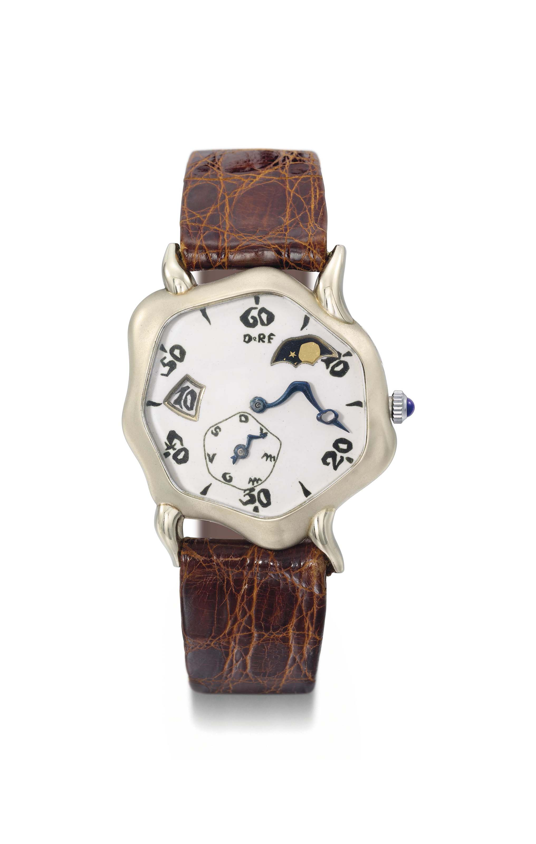 Falcone. A very fine and probably unique 18K white gold asymmetrical jumping hour wristwatch with enamel dial, day and moon phases