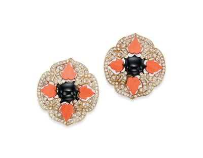 A PAIR OF ONYX, CORAL AND DIAM