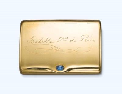 A GOLD AND SAPPHIRE CIGARETTE