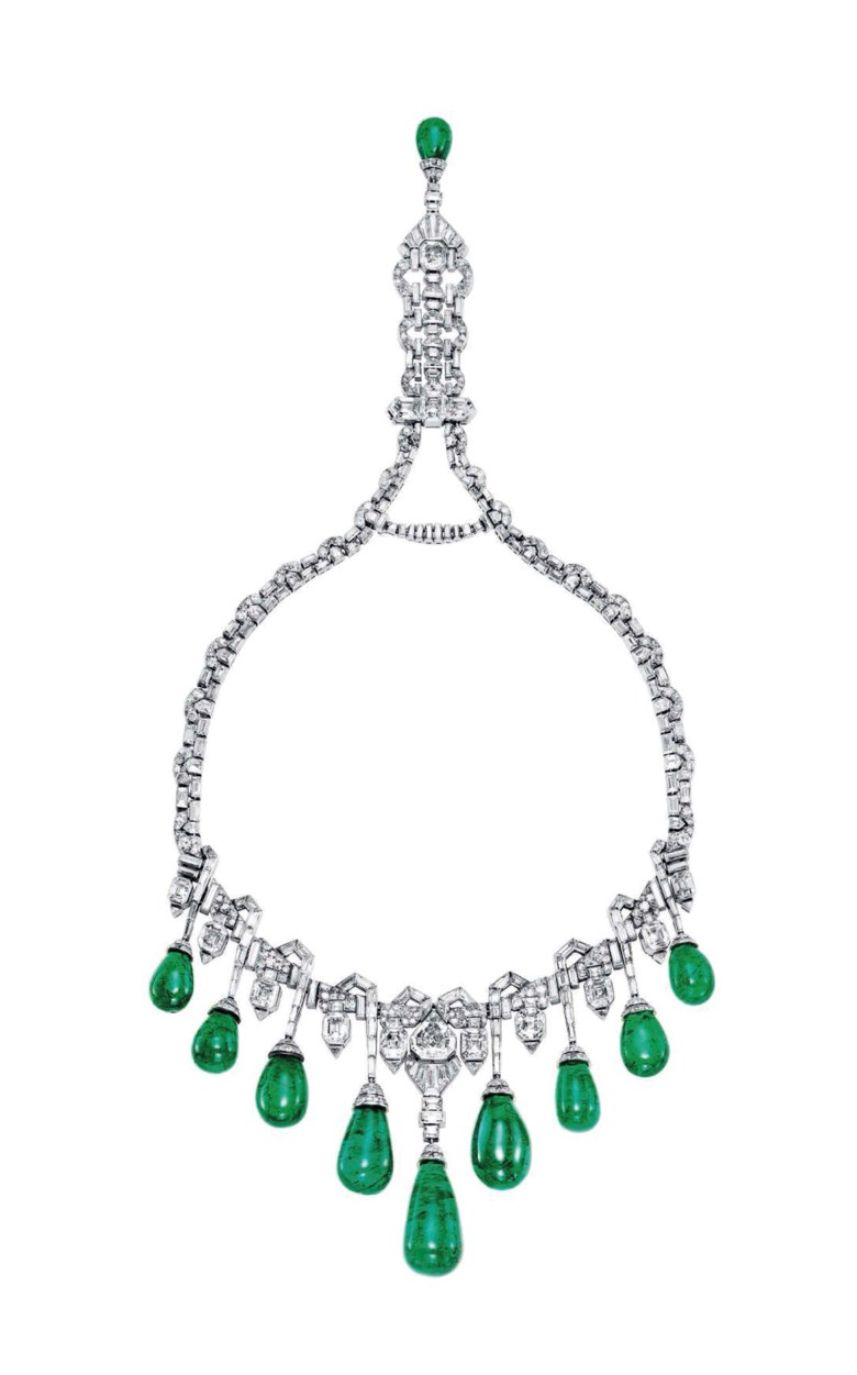 An Art Deco emerald and diamond necklace, by Van Cleef & Arpels. Sold for CHF 3,861,000 on 12 November 2013  at Christie's in Geneva