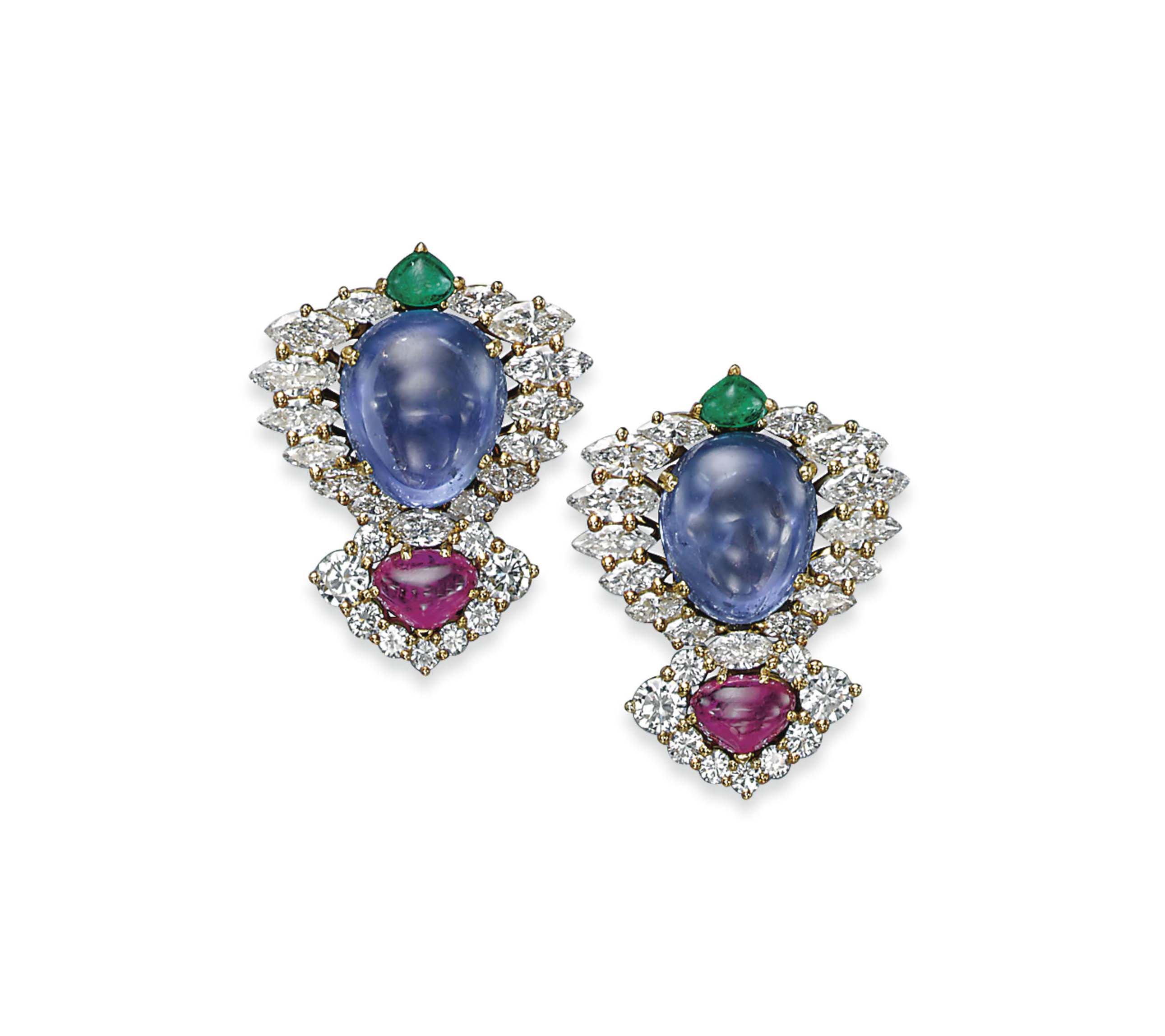 A PAIR OF SAPPHIRE, EMERALD, RUBY AND DIAMOND 'FRANCESCA' EAR CLIPS, BY MARINA B.