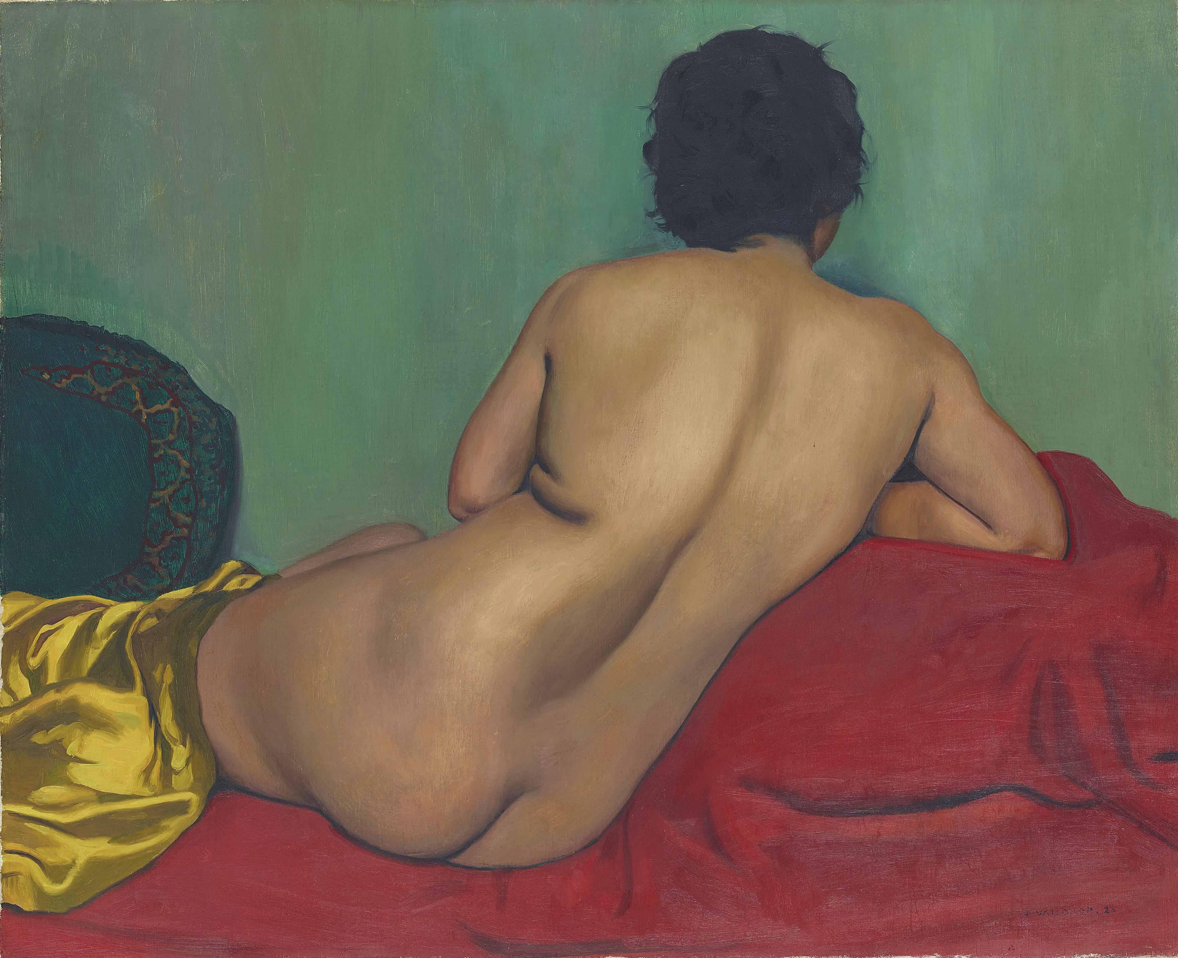 Nu de dos sur un canapé rouge, 1925