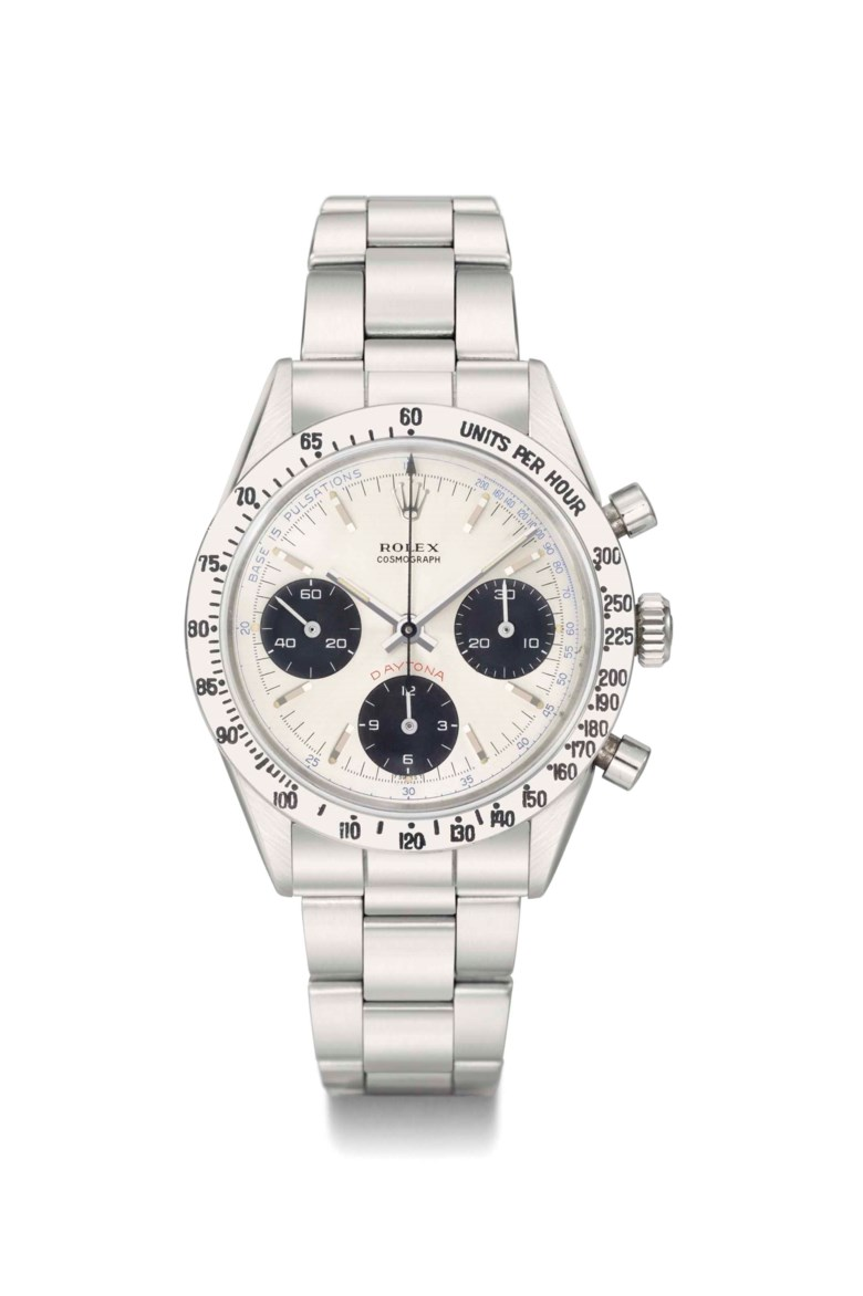 Rolex. An extremely rare and important stainless-steel chronograph wristwatch with pulsation dial and bracelet. Signed Rolex, cosmograph, Daytona, Ref. 6239, case no. 1695328, manufactured in 1967. 36.5  mm  diameter. Sold for CHF 761,000 on 10 November 2013 at Christie's in Geneva