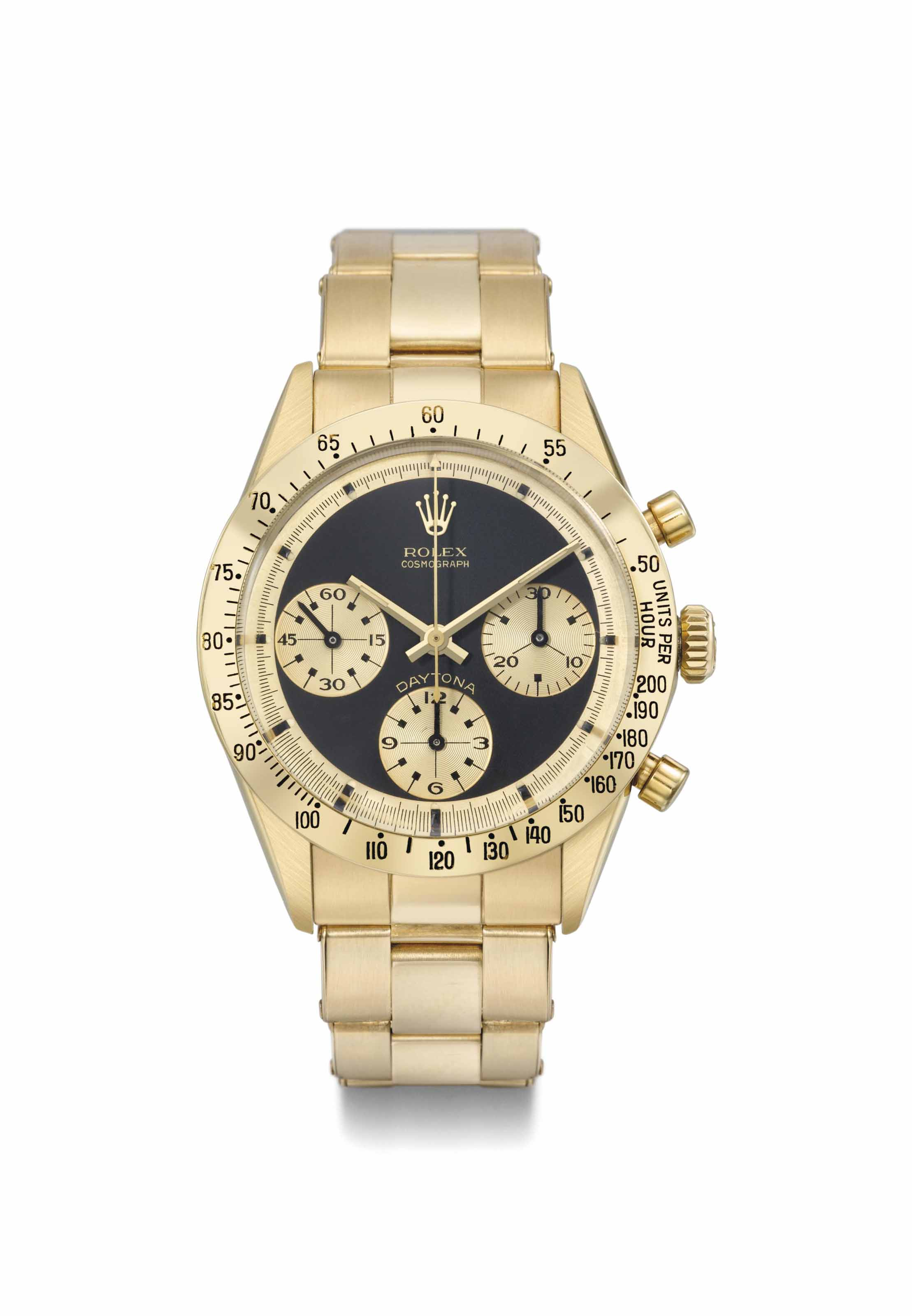 Rolex. A very rare and attractive 18K gold chronograph wristwatch with black dial and box